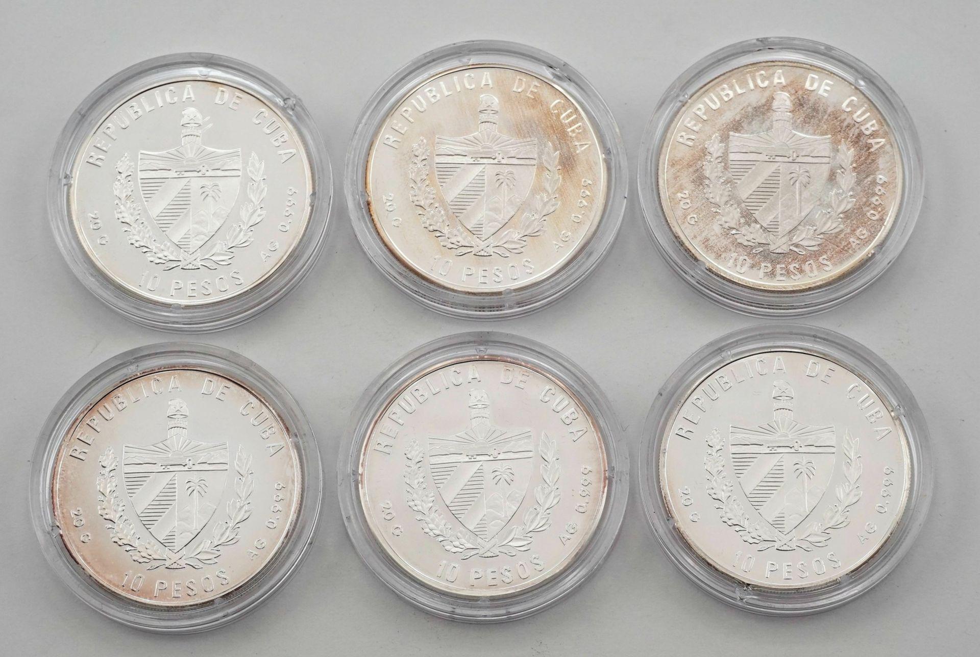 Sechs kubanische Silbermünzen - Bild 3 aus 3