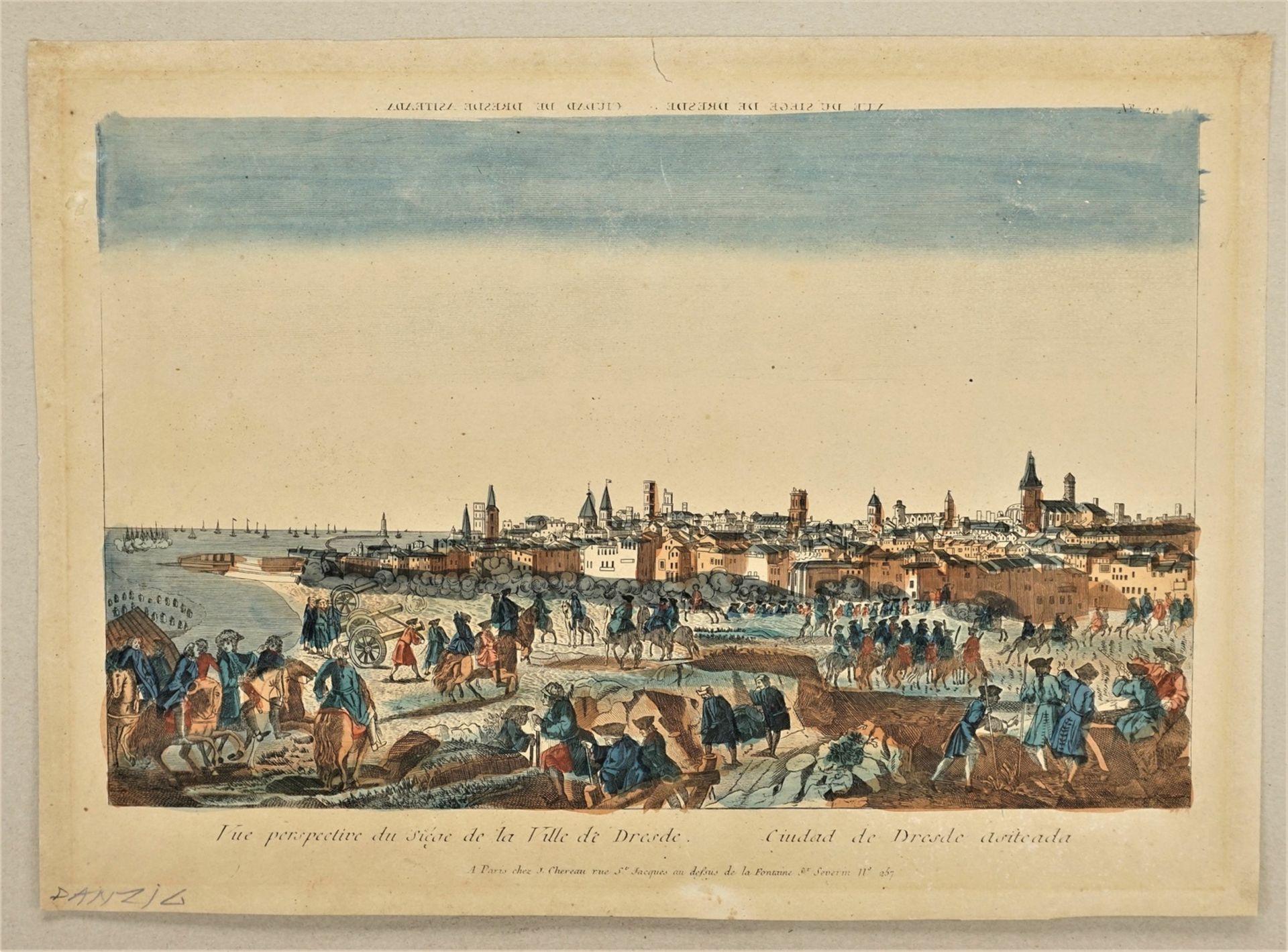 """Guckkasten-Blatt """"Vue perspective du siège de la Ville de Dresde"""" - Bild 3 aus 3"""