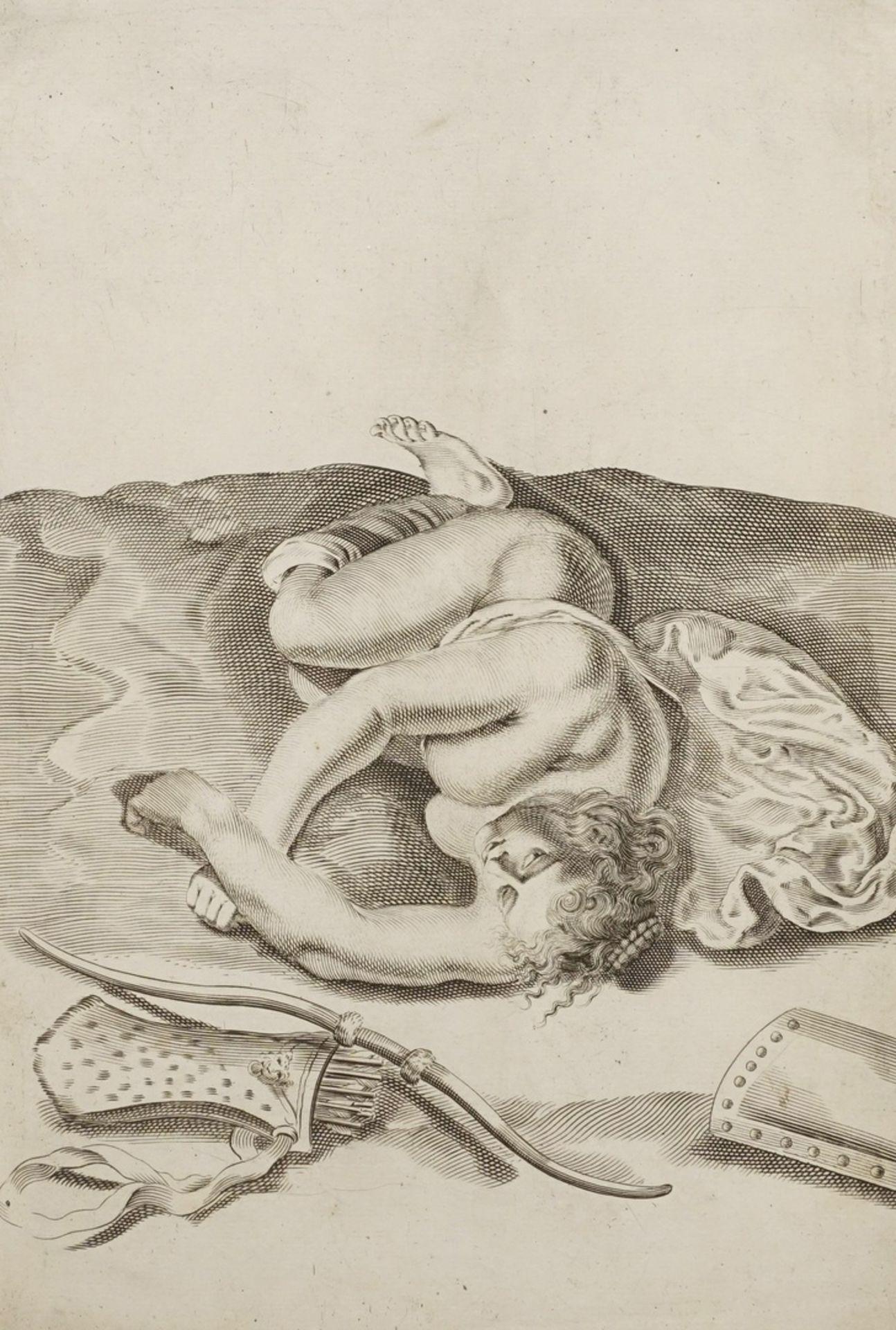 Gerard de Lairesse, Studienblatt zur optischen Verkürzung (Liegende als Nymphe der Diana)