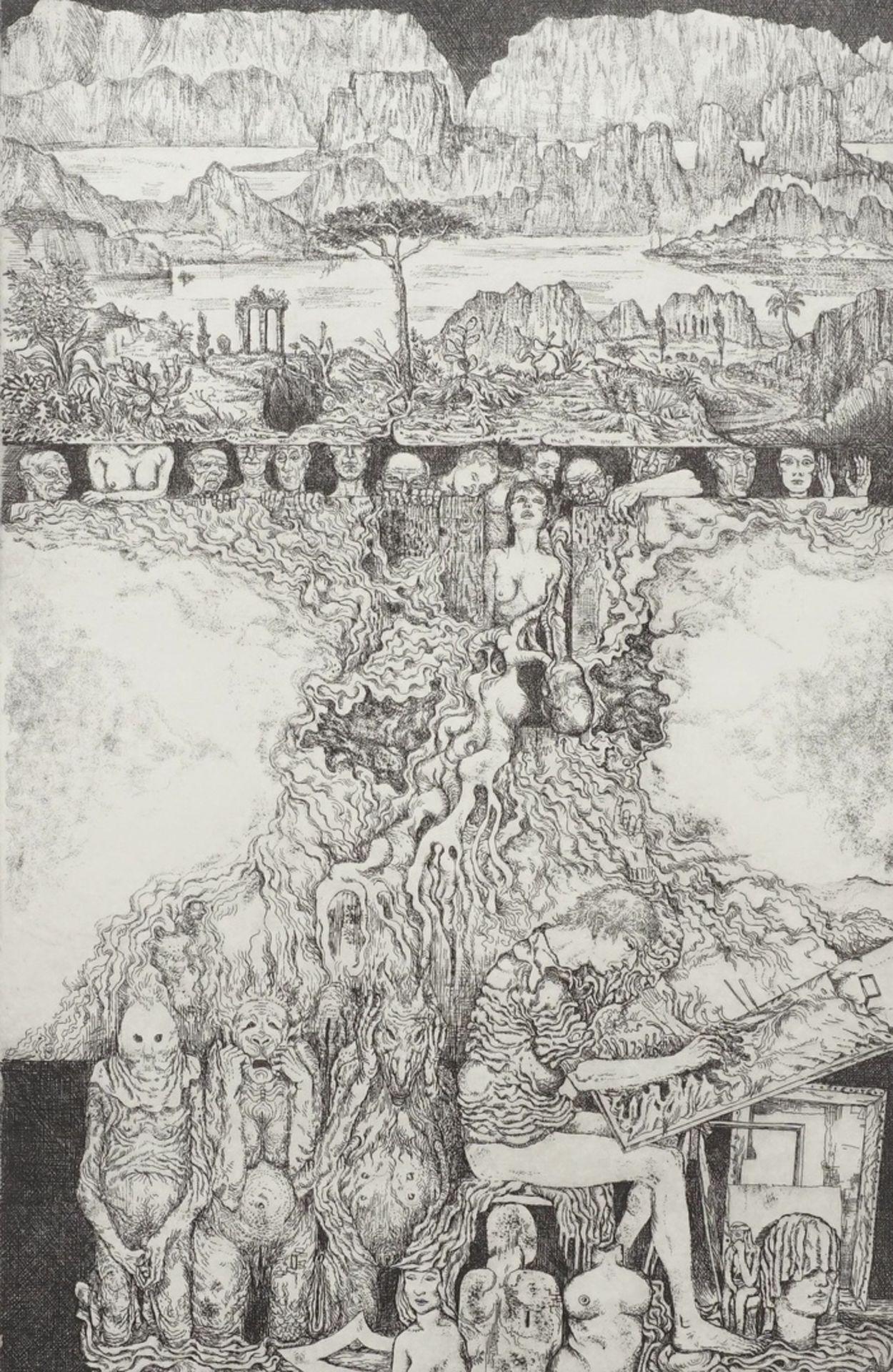 Unbekannter Radier-Künstler, Phantastisch-groteske Szene