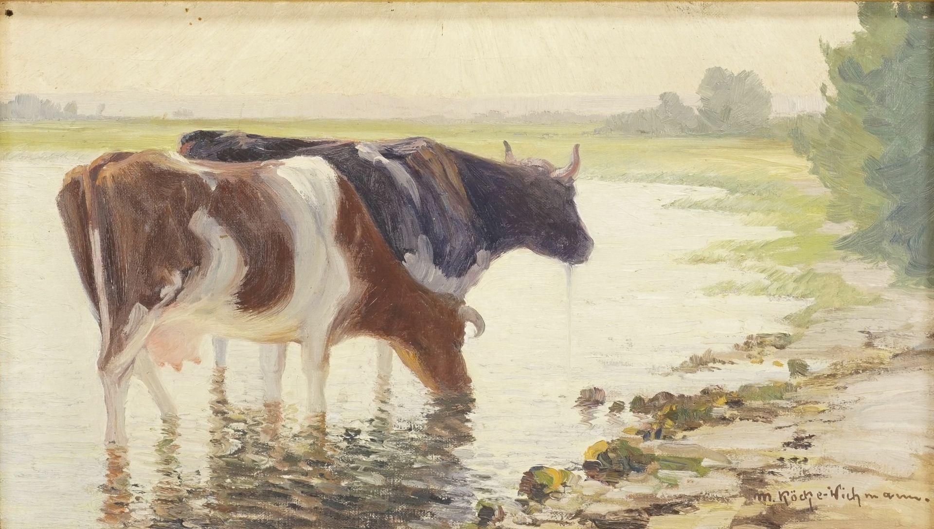 """Max Köcke-Wichmann, """"Rast der Kühe am Seeufer"""""""