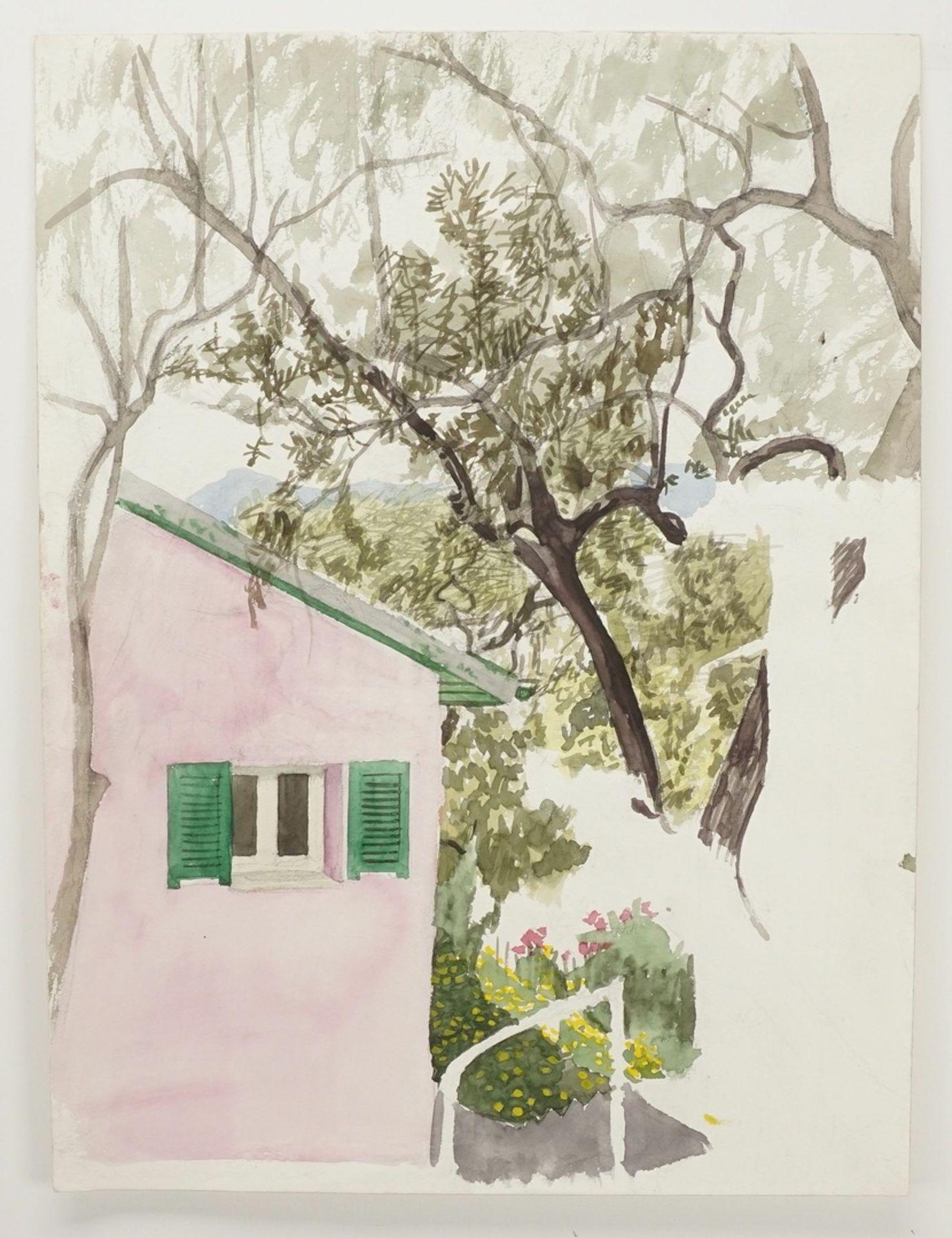 Franz Werneke, Gartenblick mit rosa Haus - Bild 3 aus 4