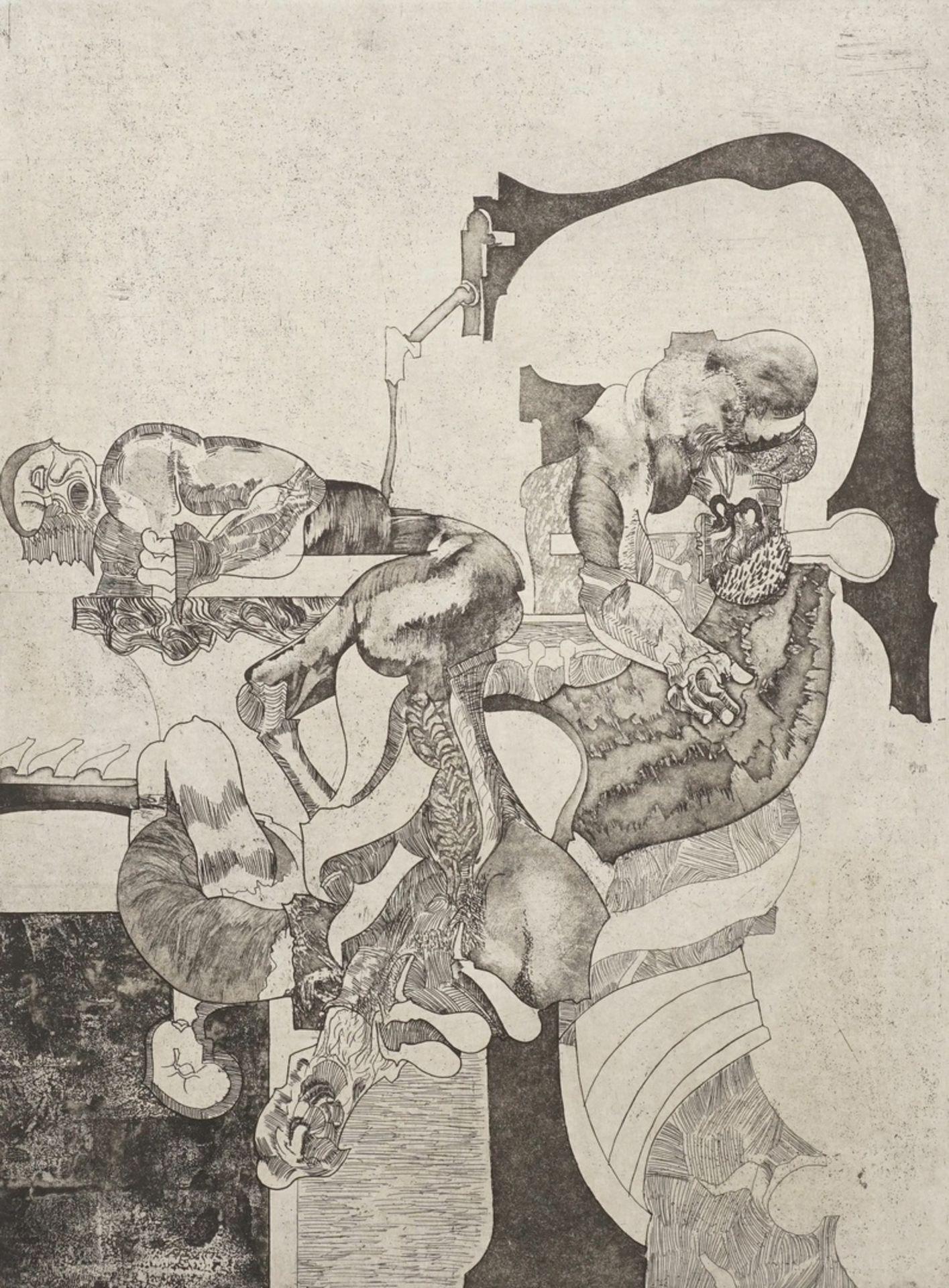 Unbekannter Künstler, Biomorphe Mechanik (Surreale Szene)