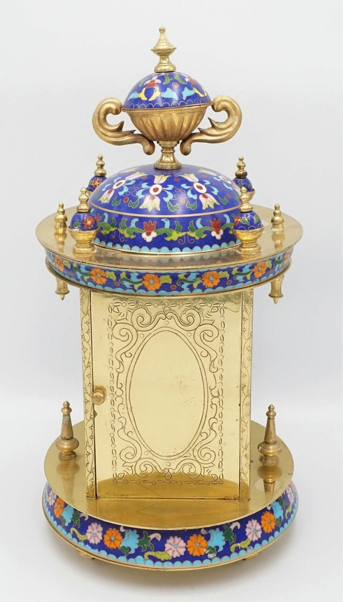 Orientalische Cloisonné Tischuhr, 2. Hälfte 20. Jh. - Bild 4 aus 5