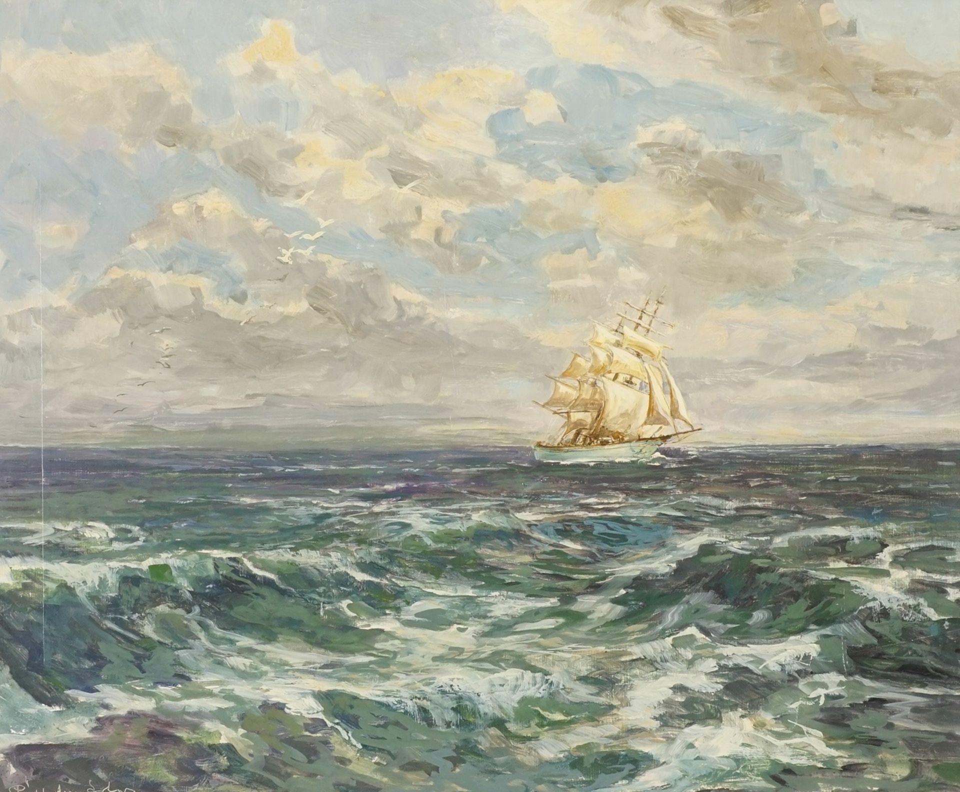 Marinemaler, Dreimaster unter vollen Segeln auf hoher See
