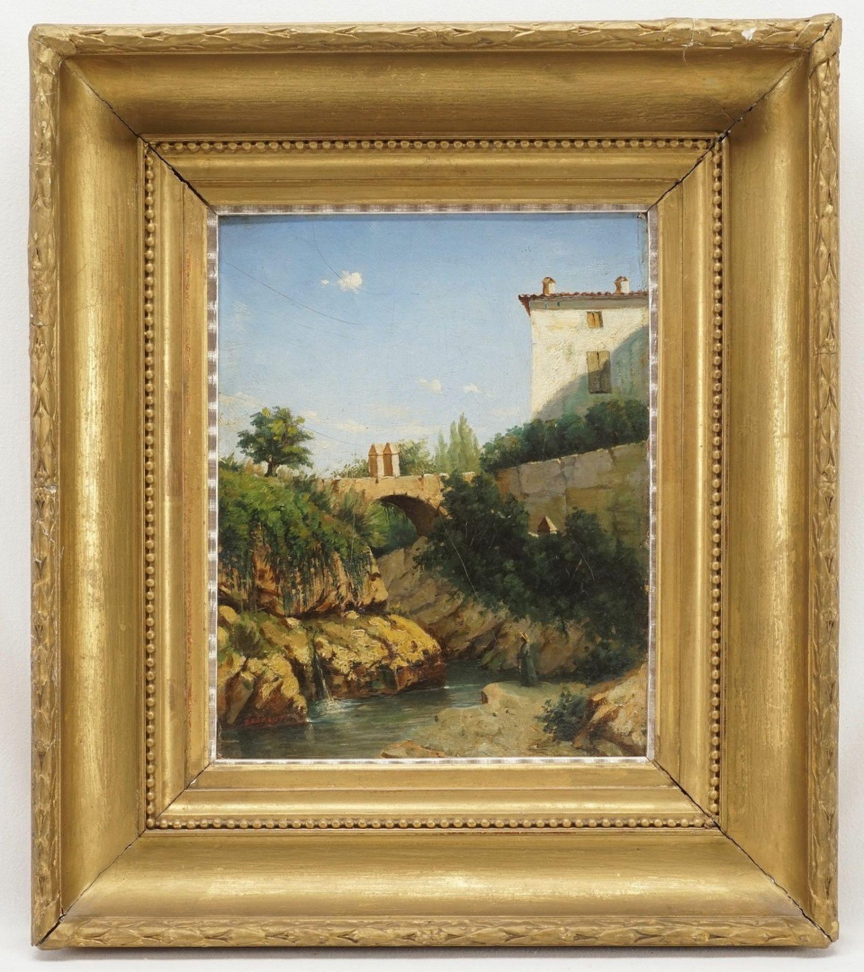 """Französischer Landschaftsmaler, sign. Budelot, """"Kleiner Flusslauf in Südfrankreich"""" - Bild 2 aus 4"""