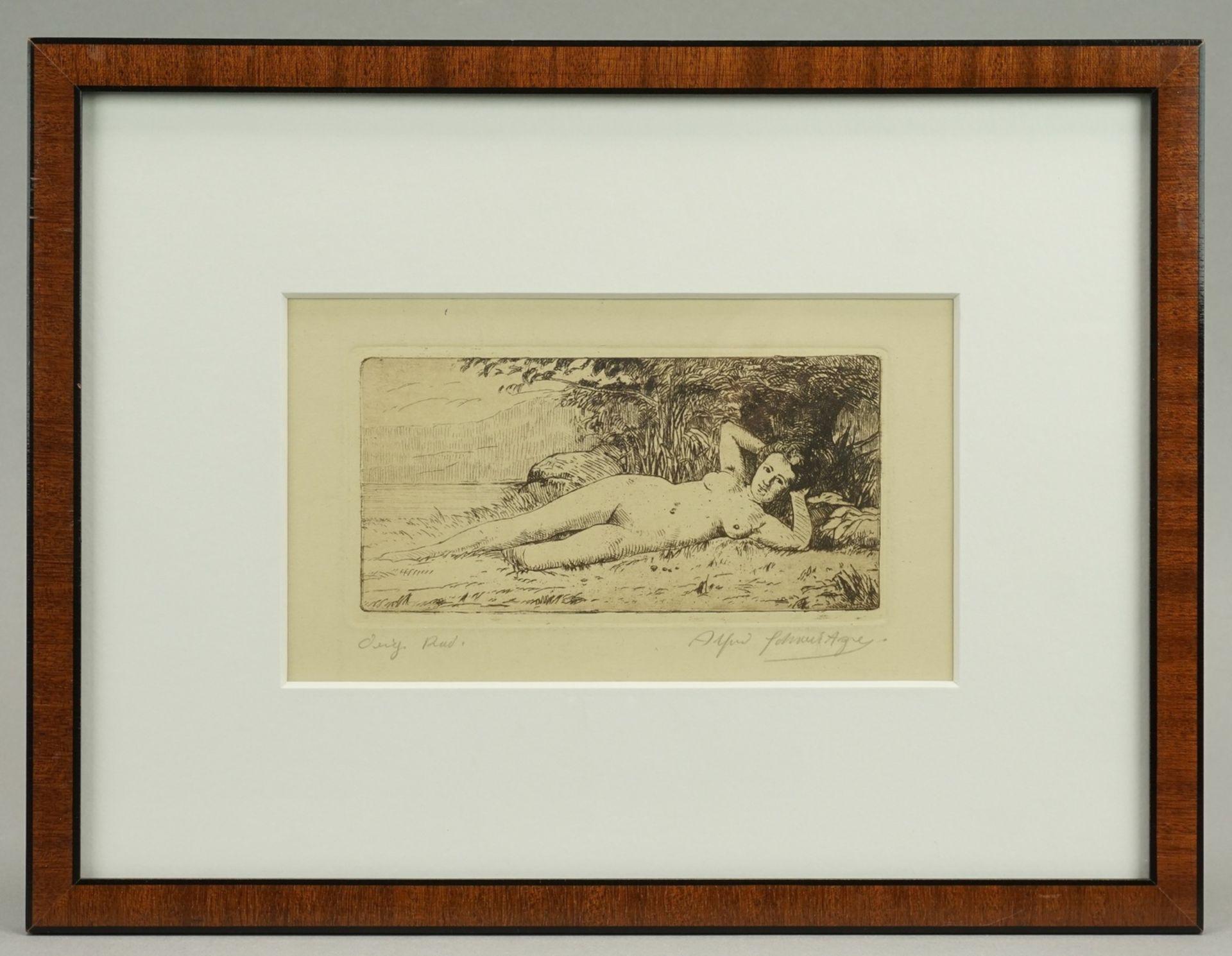 Alfred Schweitzer, Liegender weiblicher Akt - Bild 2 aus 3