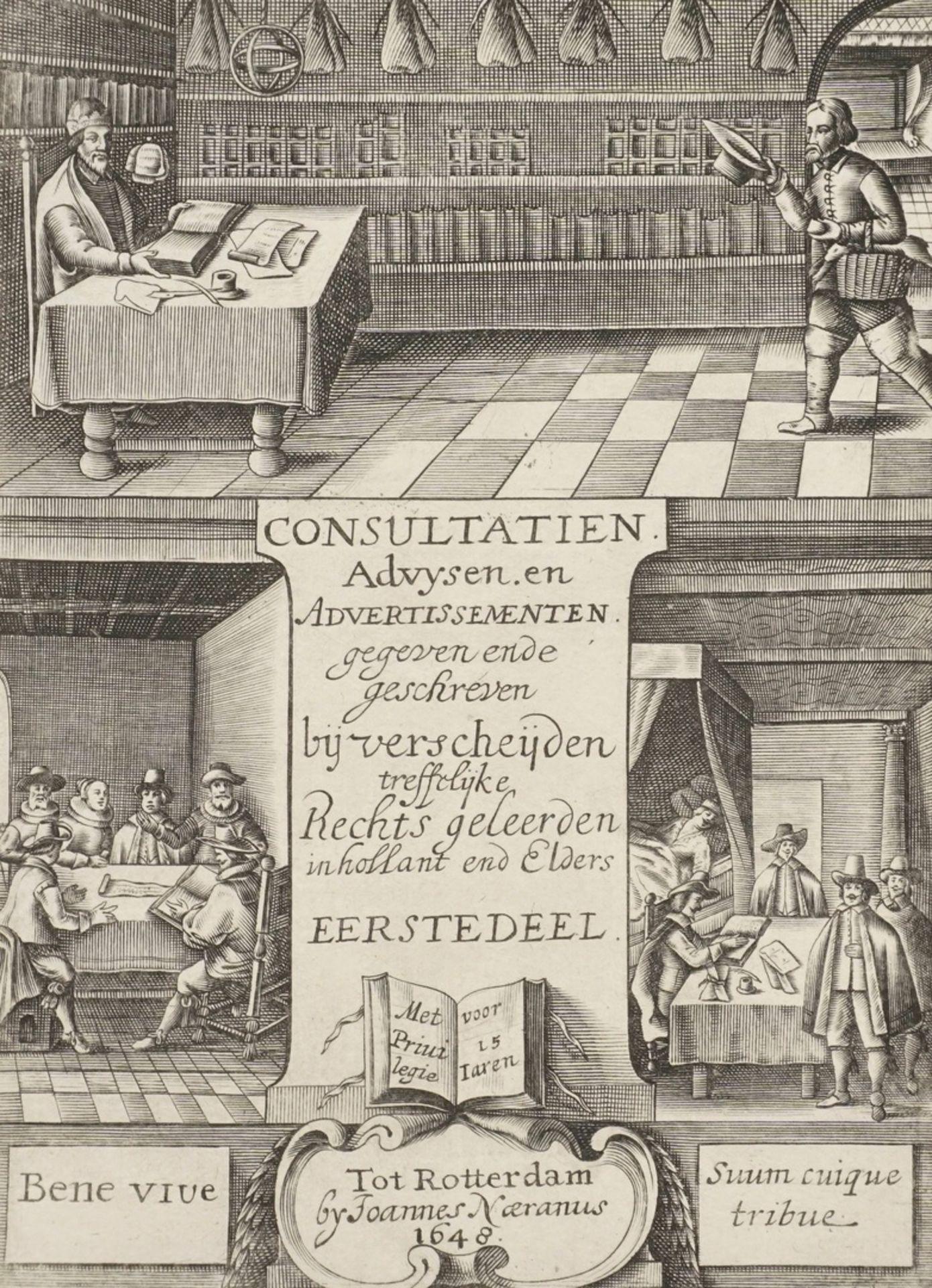 """Titelkupfer zu """"Consultatien Advysen. en Advertissementen [...]"""""""