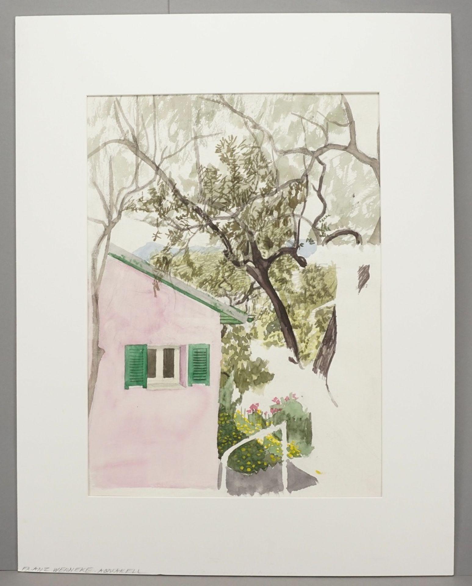 Franz Werneke, Gartenblick mit rosa Haus - Bild 2 aus 4
