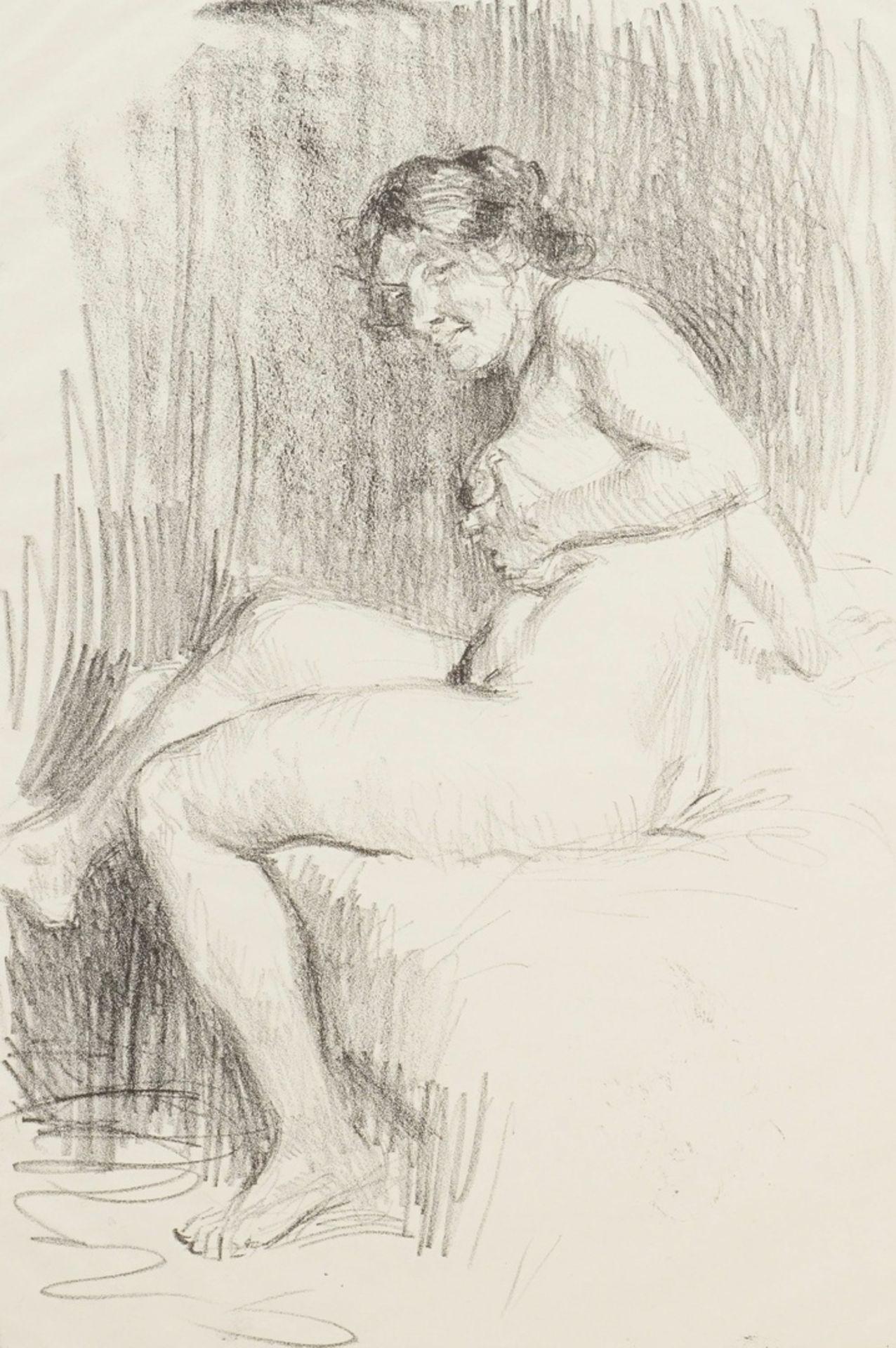 Paul Paede, Sitzender weiblicher Akt, die linke Hand an der Brust