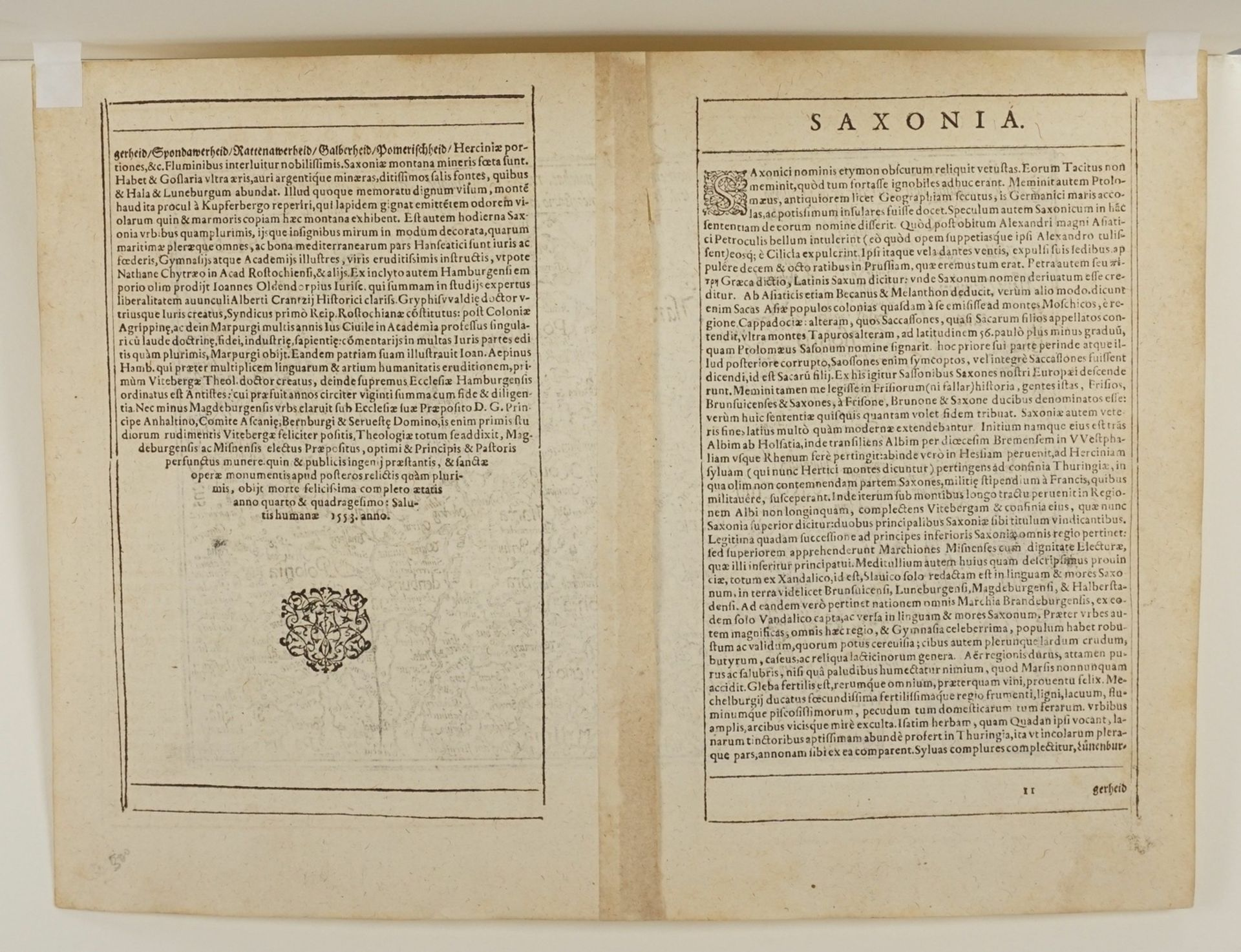 """Mat(t)hias Quad, """"Saxonum regionis quatenus eius gentis imperium nomenque olim patebat, recens ... - Bild 4 aus 4"""
