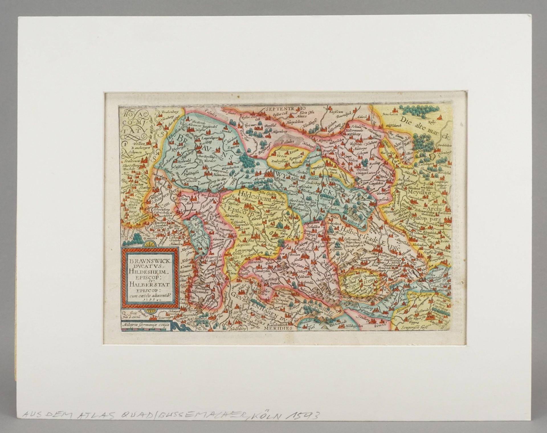 """Mat(t)hias Quad, """"Braunswick Ducatus. Hildeheim Episop: & Halberstat Episcop:"""" (Landkarte des ... - Bild 2 aus 4"""