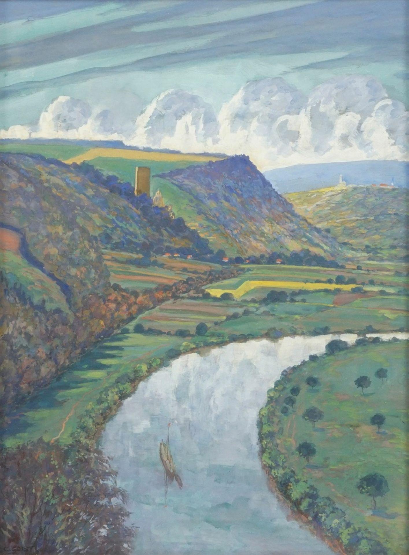 Carl Wilhelm Geist, Flusslauf mit Burgenlandschaft