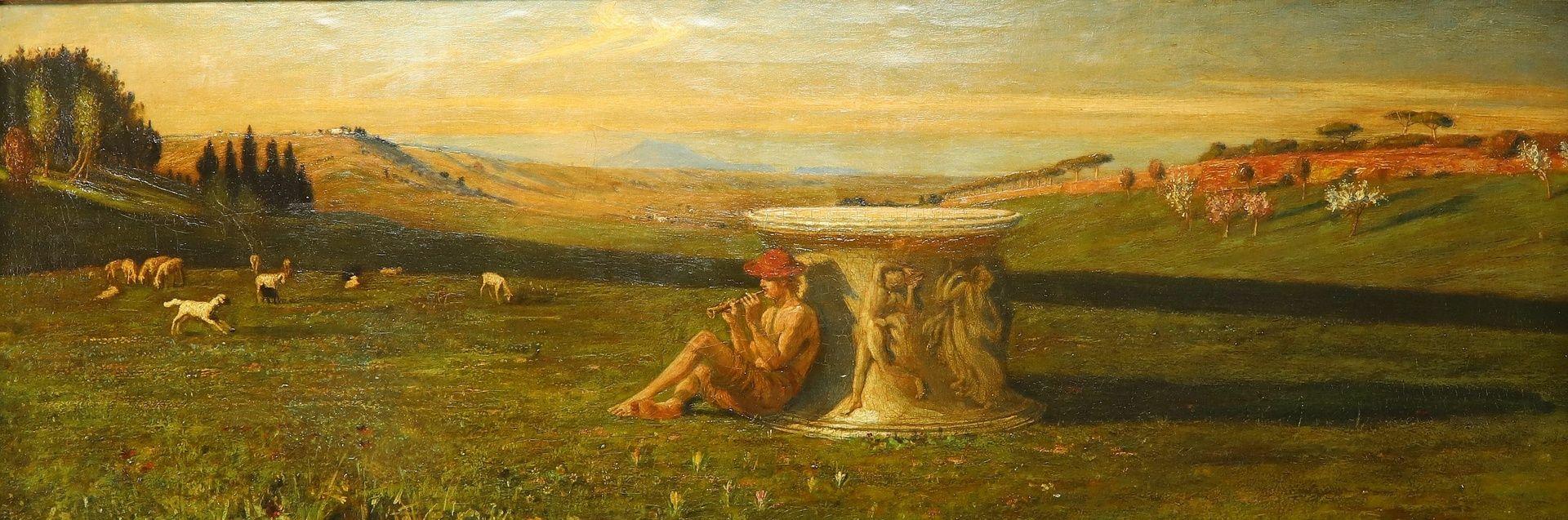 Englischer Monogrammist, Flöte spielender Hirte in arkadischer Landschaft