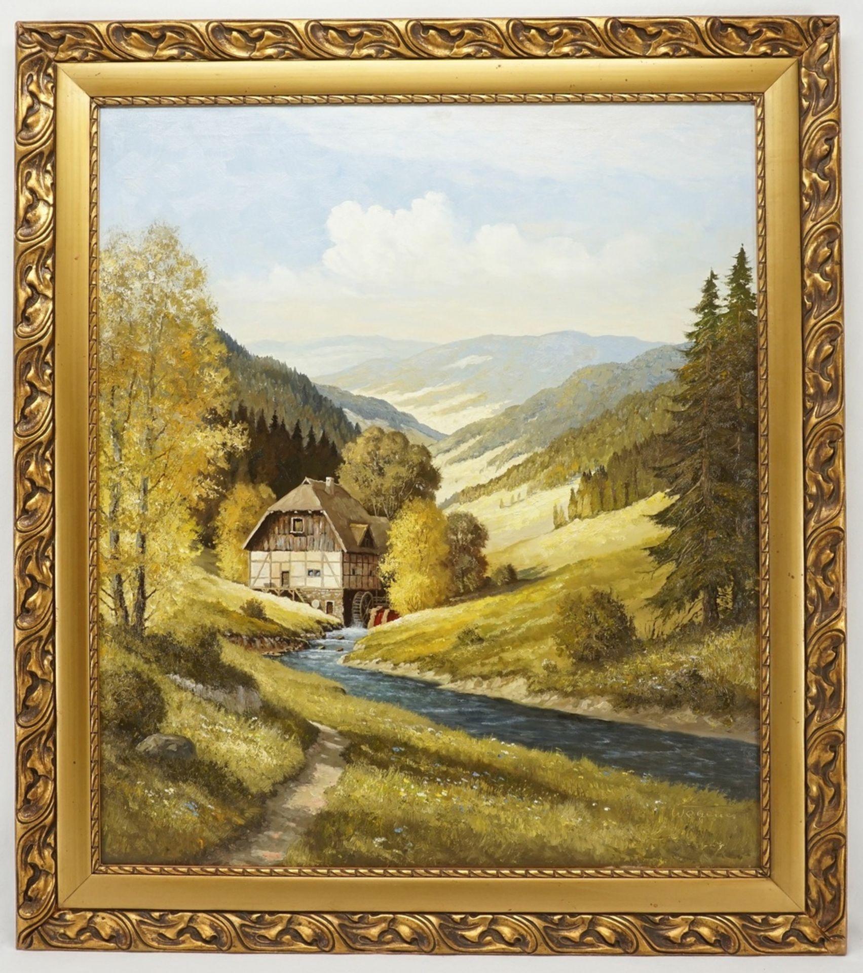 Georg Wegener, Wassermühle in Mittelgebirgslandschaft (wohl Harz) - Bild 2 aus 4