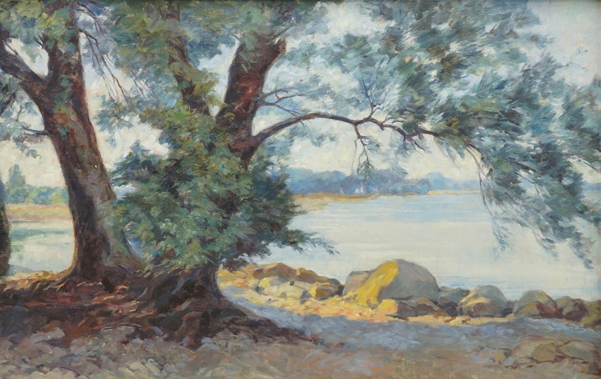 """Conrad Strasser, """"Nachmittagssonne am Seeufer"""""""