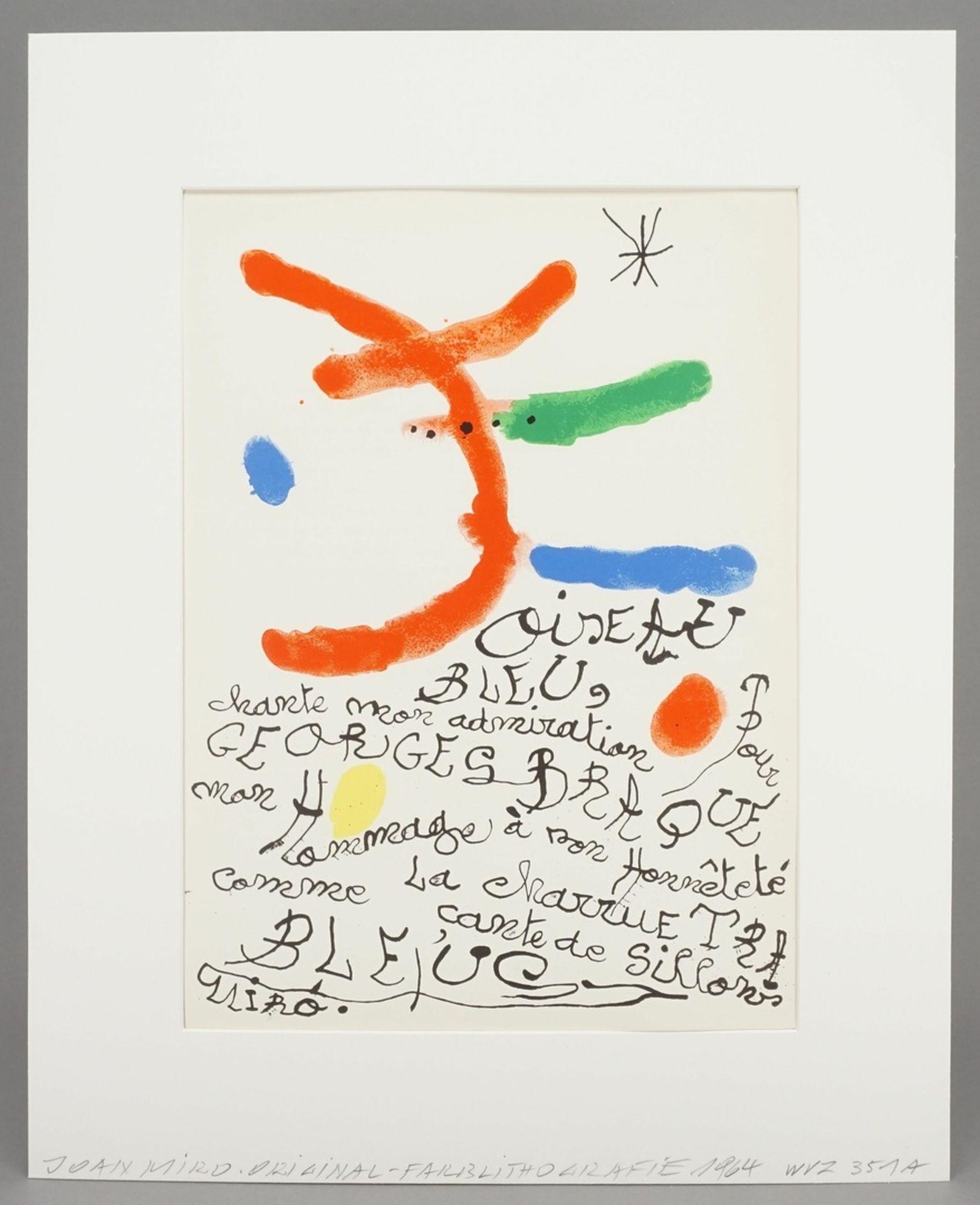 """Joan Miró, """"Oiseau bleu"""" (Hommage à Georges Braque) - Bild 2 aus 4"""