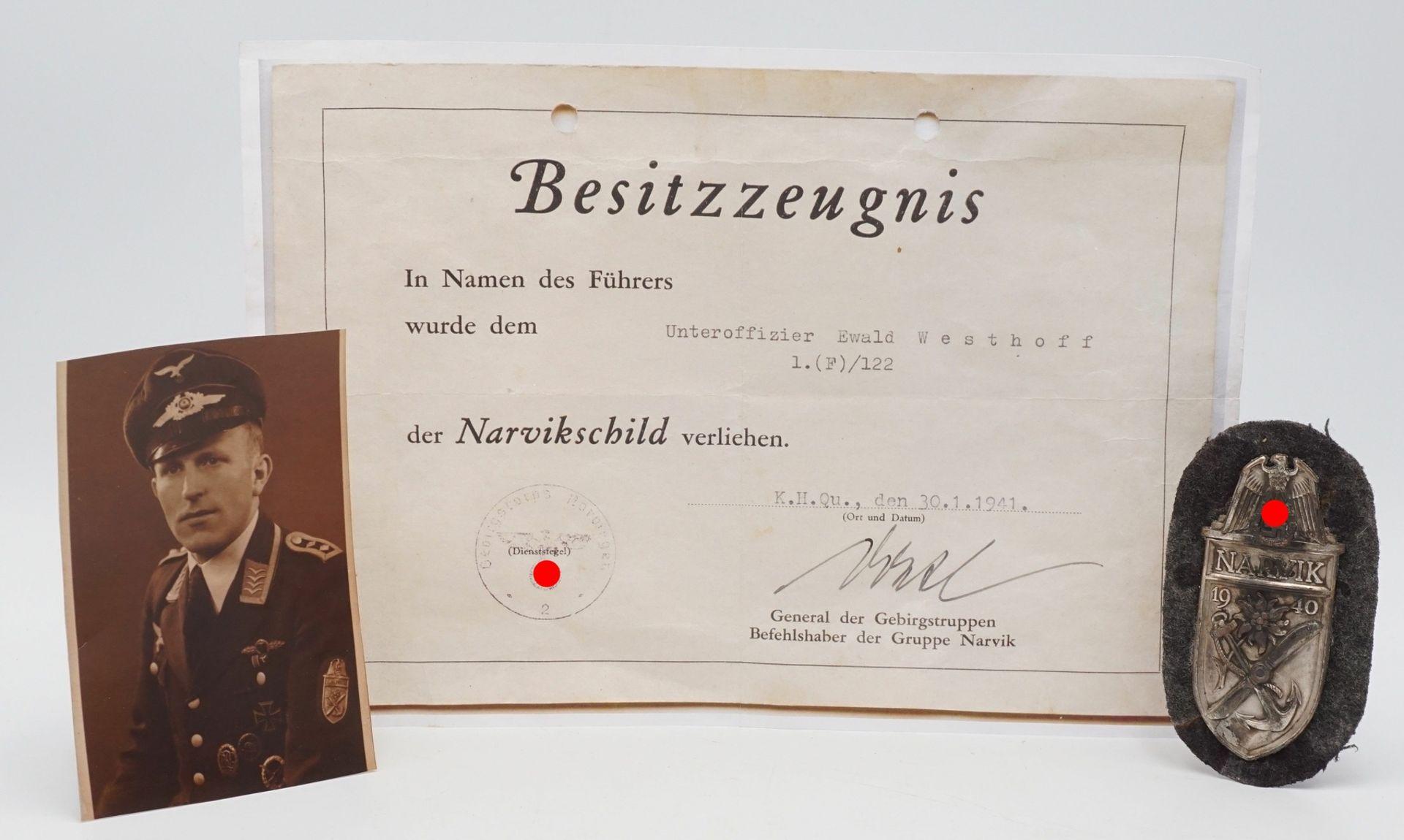 Ärmelschild Narvik 1940 in Silber