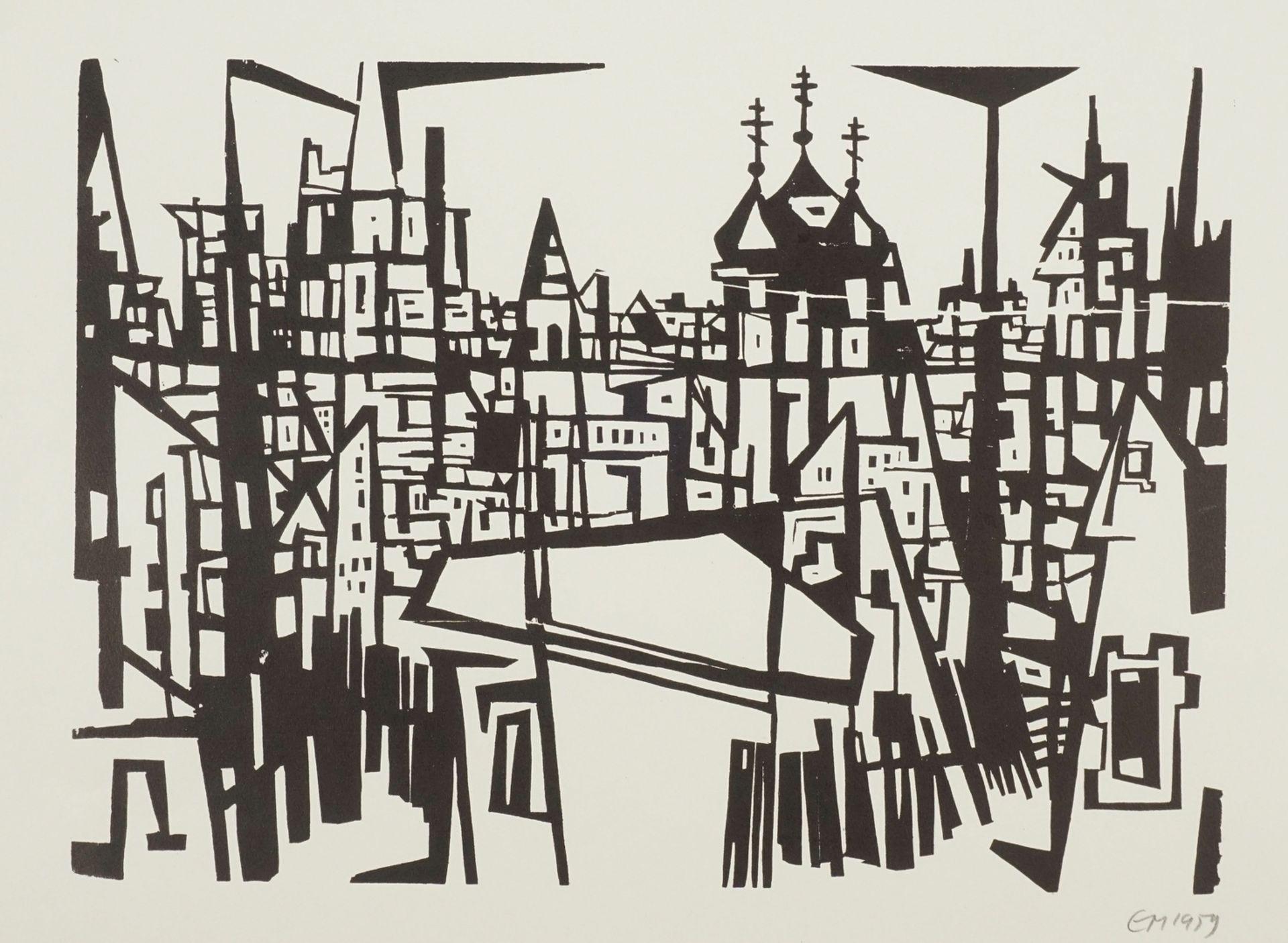 Monogrammist EM, Blick über Dächer auf eine russisch-orthodoxe Kirche
