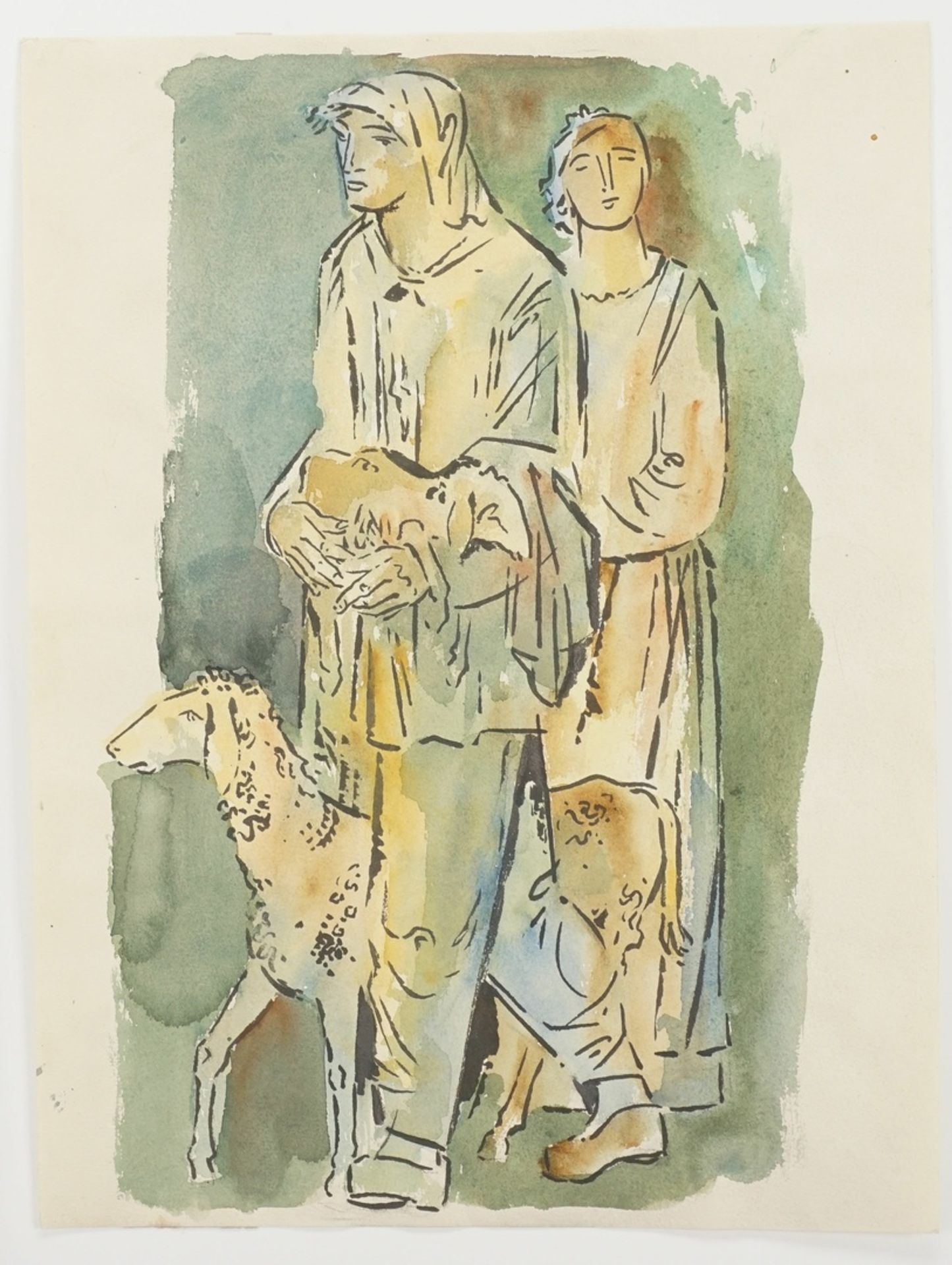 Richard Schwarzkopf, Zwei Hirten mit Schaf - Bild 3 aus 4