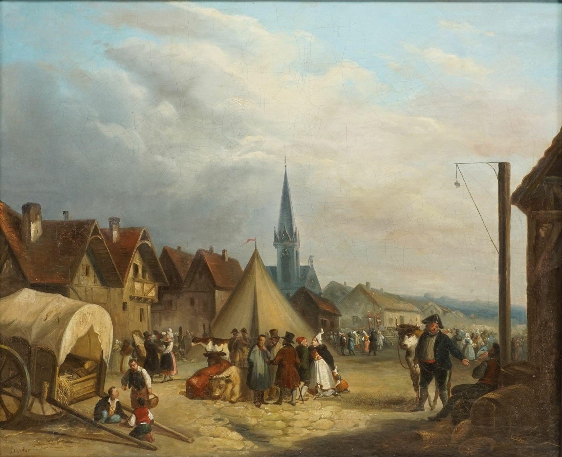 """Berton, """"Jahrmarkttreiben in der Normandie"""""""