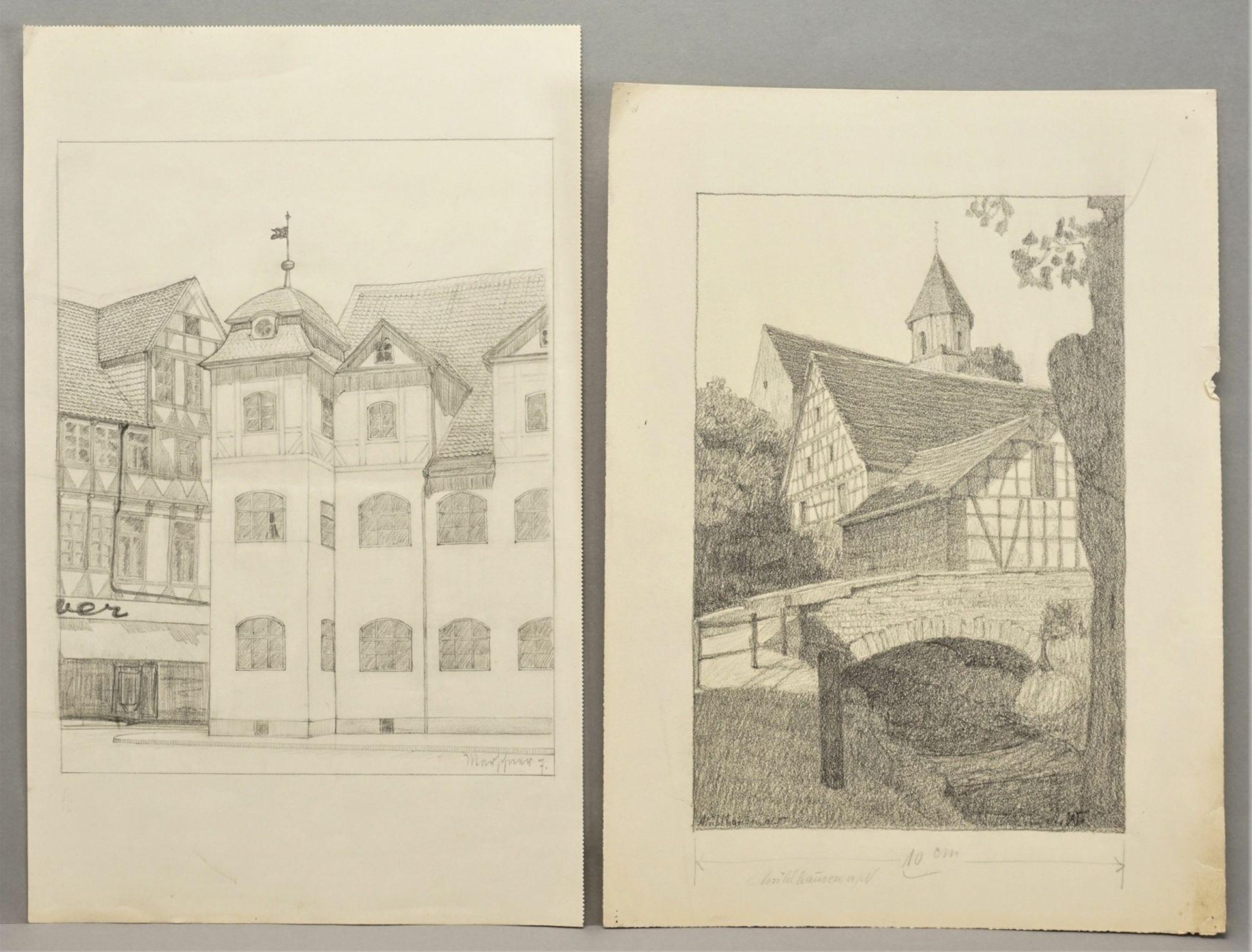 Sechs Handzeichnungen zu fränkischen Orten - Bild 2 aus 4