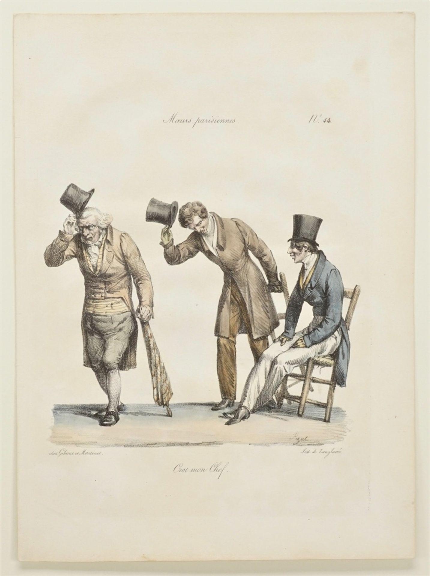 """Edme Jean Pigal, Drei Blatt aus """"Moeurs parisiennes"""" (Pariser Sitten) - Bild 4 aus 4"""