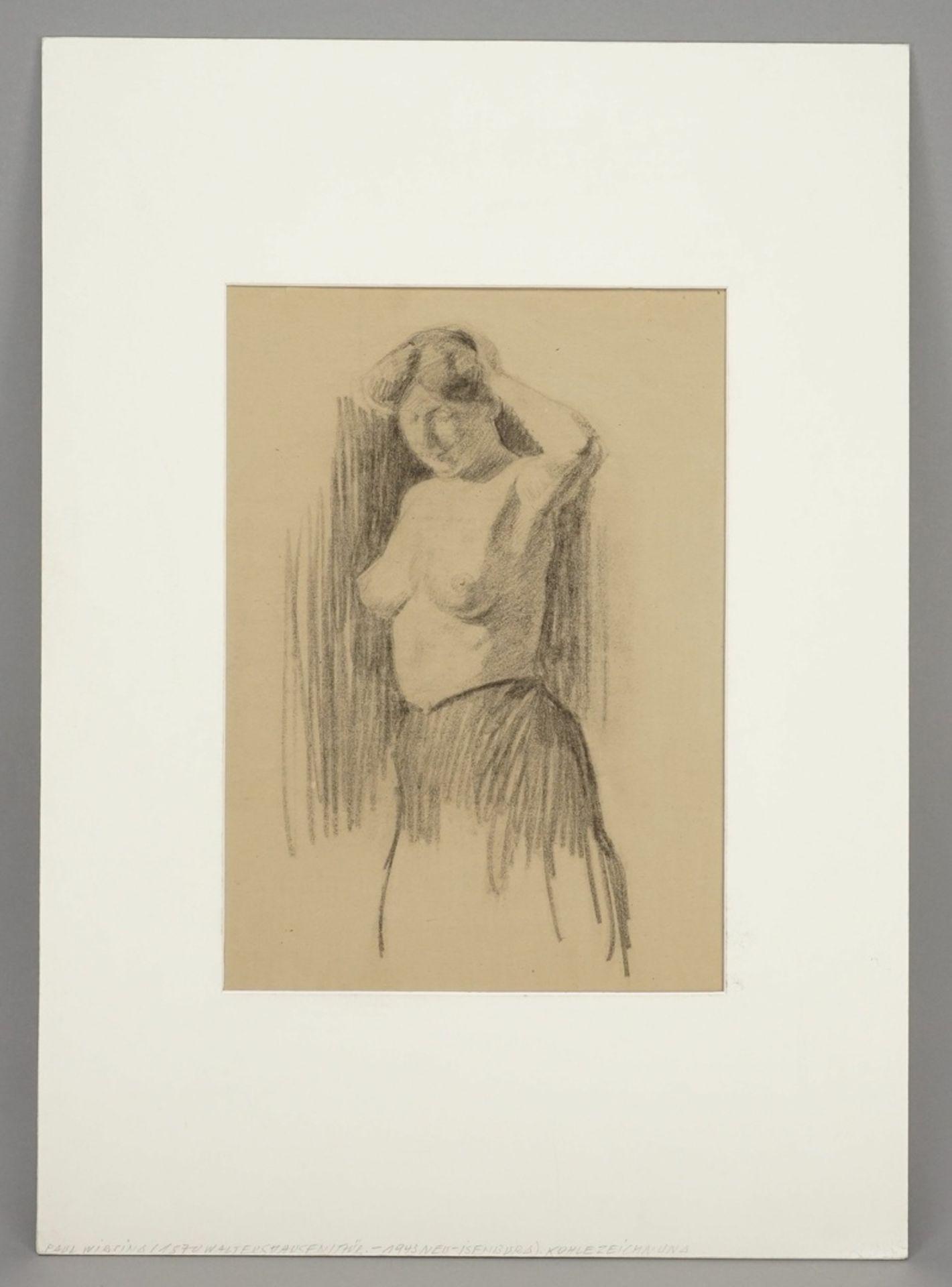 Paul Wirsing, Stehender weiblicher Halbakt, die linke Hand am Haar - Bild 2 aus 4