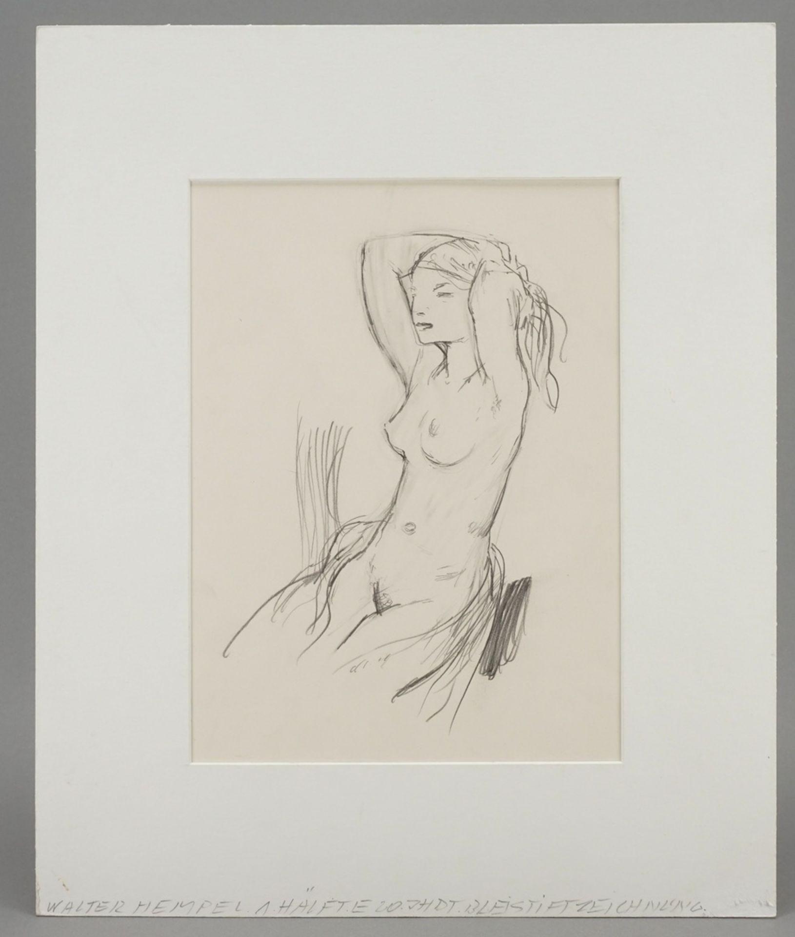 Walter Hempel, Sitzender weiblicher Akt, die Hände im Haar - Bild 2 aus 3