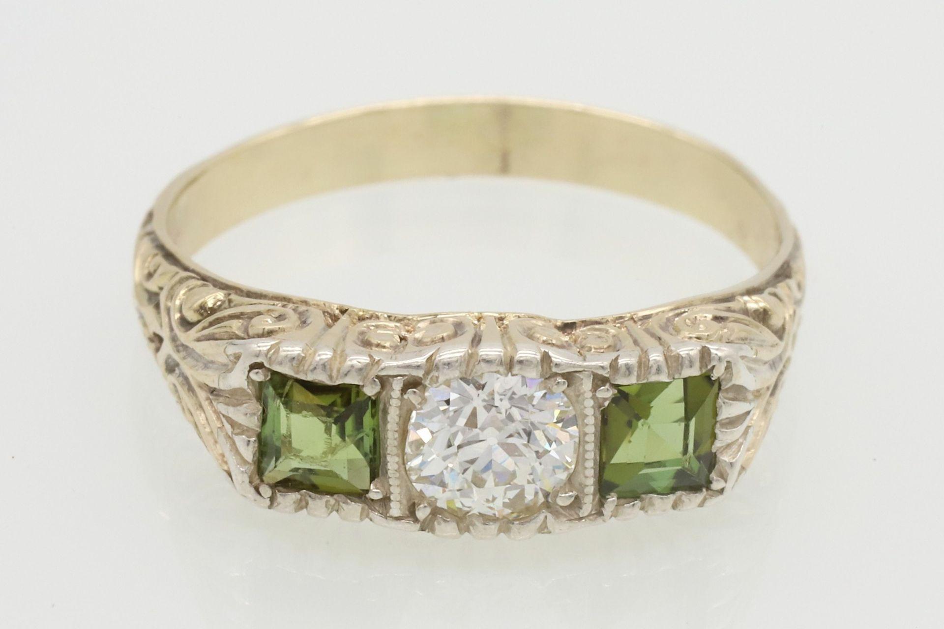 Ring mit Diamant und Peridot besetzt - Bild 2 aus 5