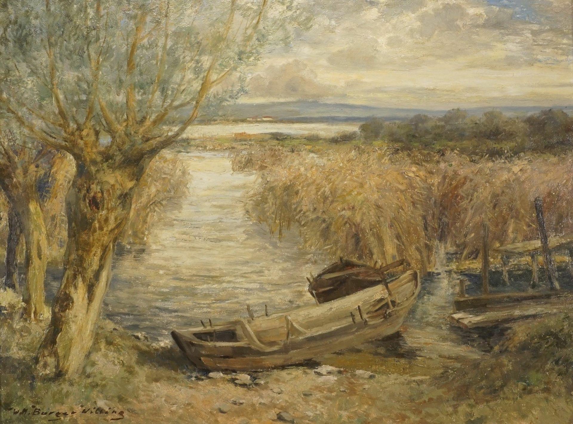 """Willi Hans Burger-Willing, """"Herbstliches Seeufer mit Booten"""" - Bild 2 aus 4"""
