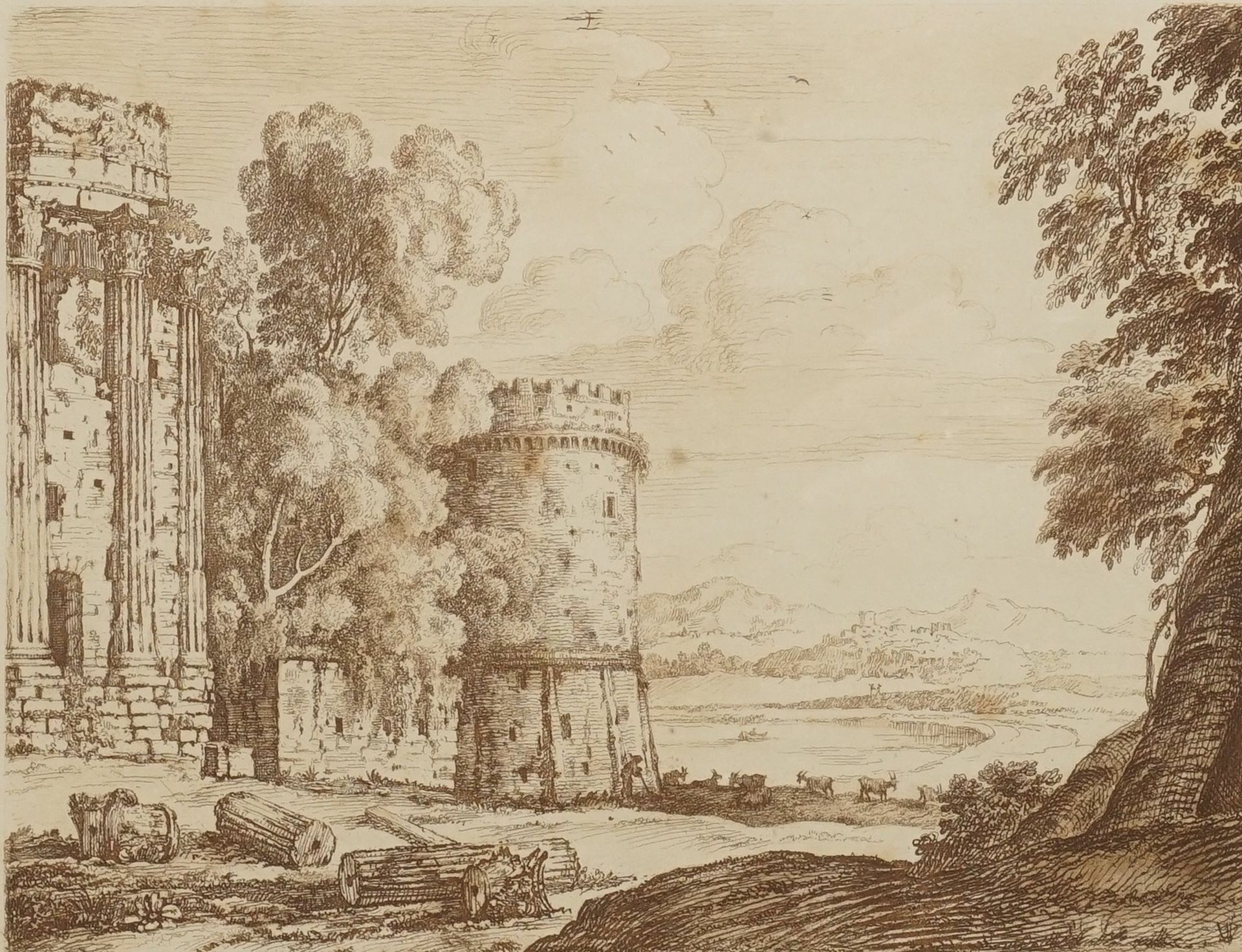 Richard Earlom, Ruinenlandschaft nach Claude Lorrain