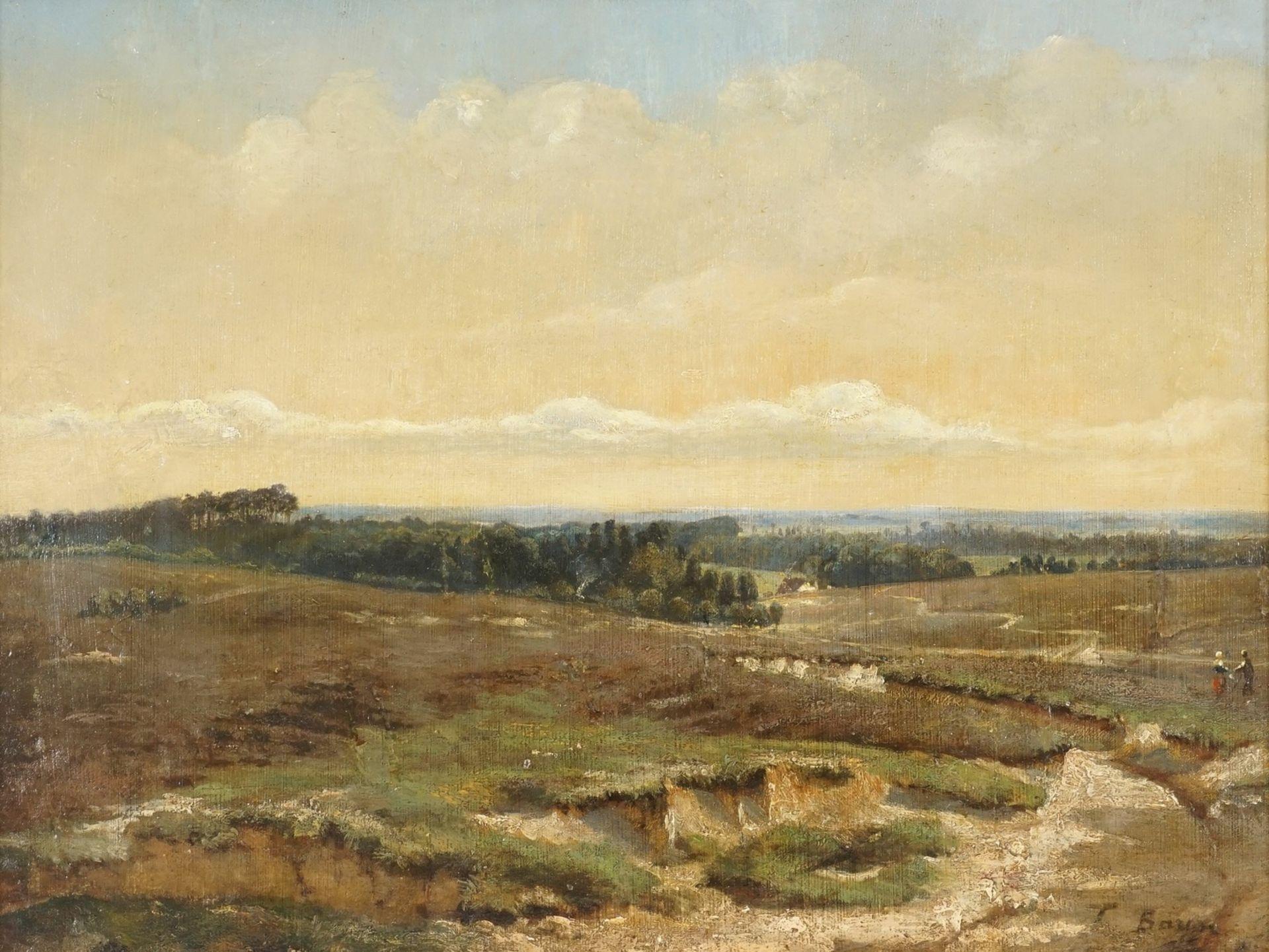 T. Baum ( ), Heidelandschaft mit Spaziergängern