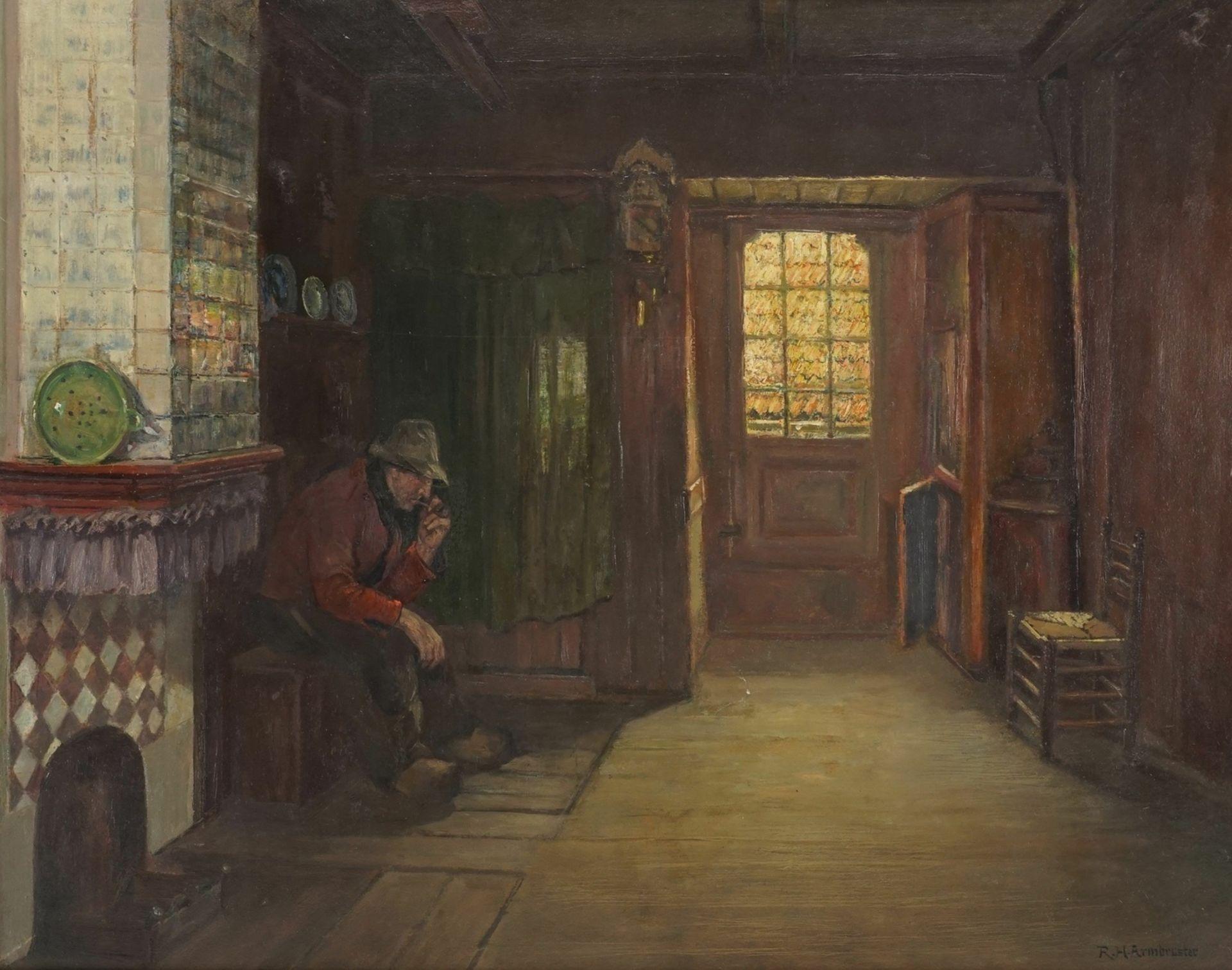 Rudolf Heinrich Armbruster, Holländisches Interieur mit Pfeiferaucher