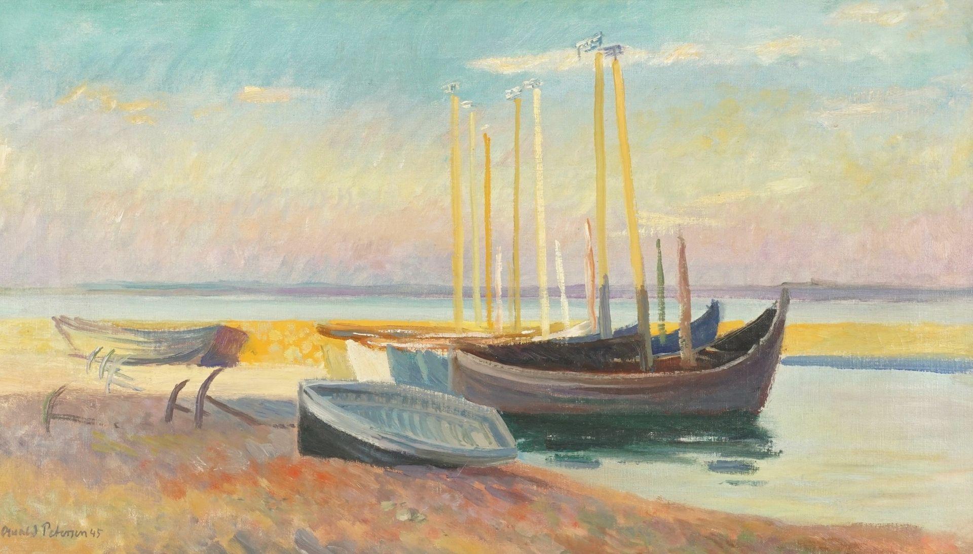 """Oswald Petersen, """"Strand mit Fischerkähnen im Abendrot"""""""