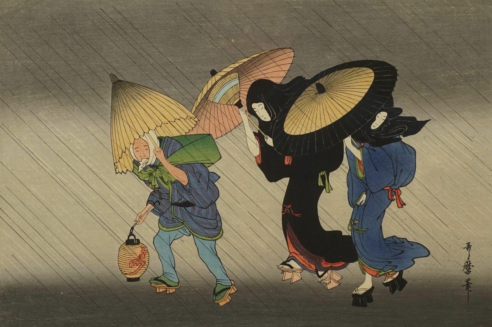 """Kitagawa Utamaro, """"Zwei Geishas und ihr Gepäckträger im Regen"""""""