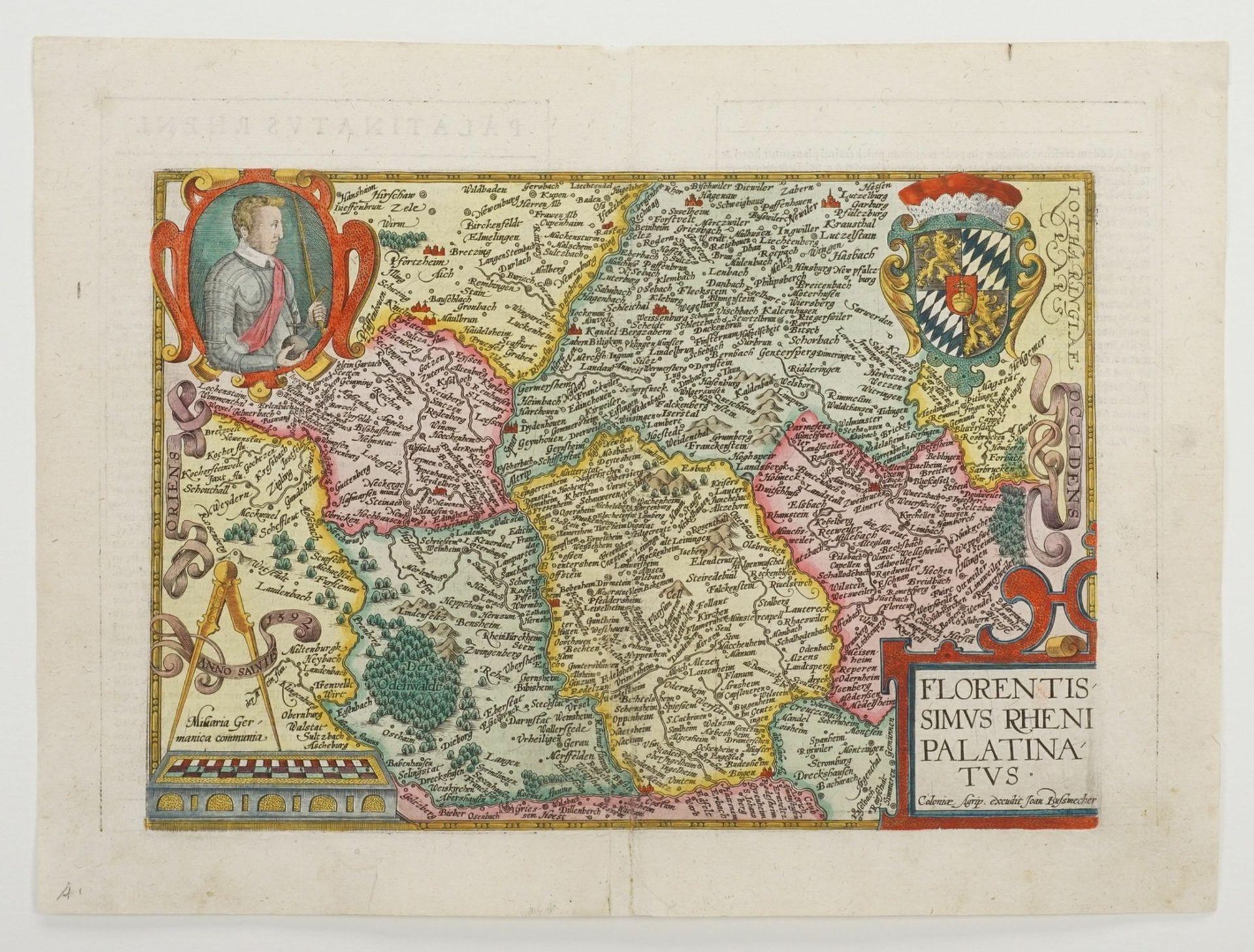 """Mat(t)hias Quad, """"Florentissimus Rheni Palatinatus"""" (Landkarte von Rheinpfalz, Odenwald und ... - Bild 3 aus 4"""