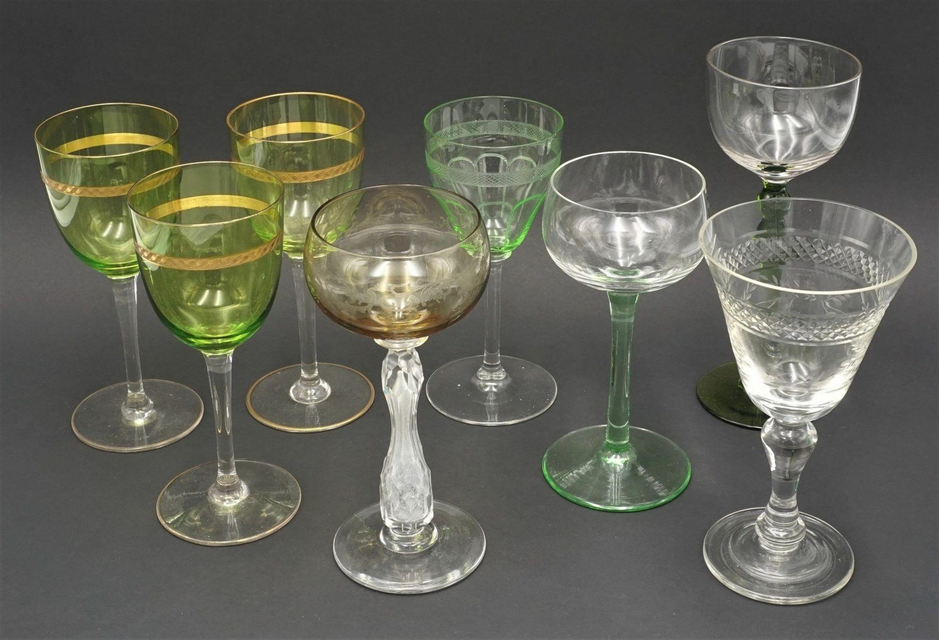 17 Weingläser, um 1900-1930 - Bild 2 aus 5