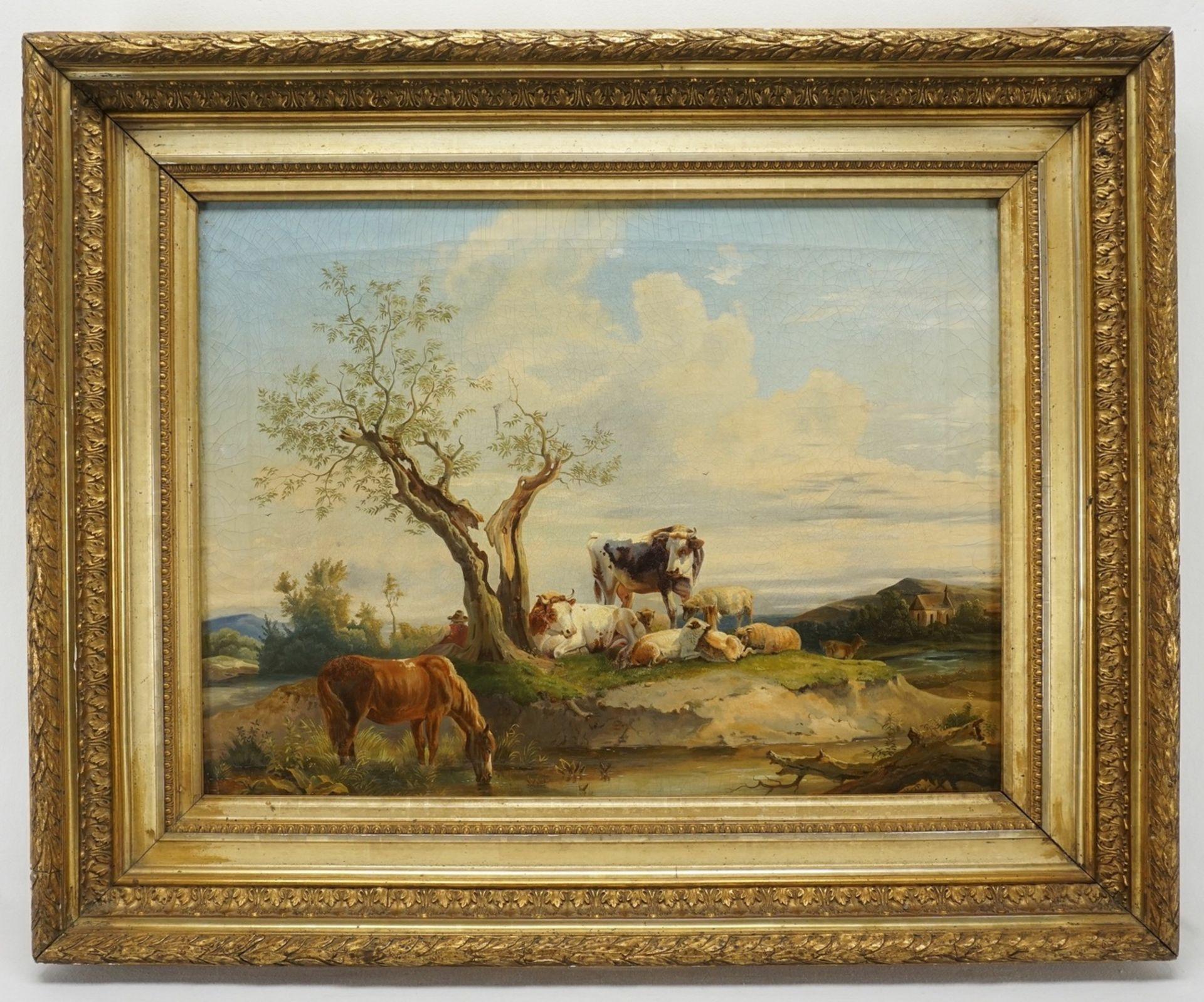 Edmund Mahlknecht, Rastender Hirte mit Pferd, Kühen und Schafen - Bild 2 aus 3