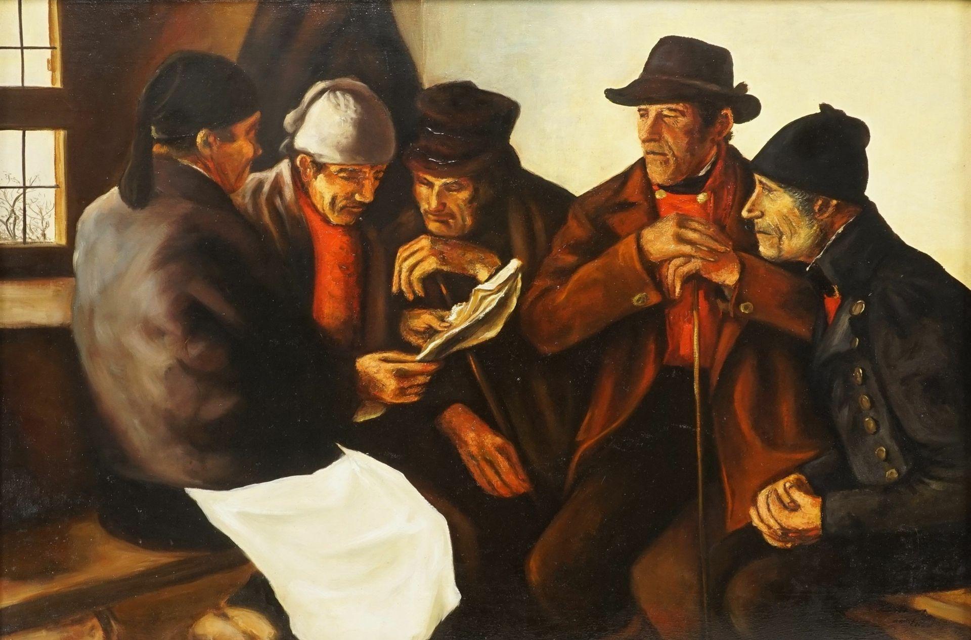 """Kopie nach Wilhelm Leibl, """"Die Dorfpolitiker (Bauern im Gespräch)"""""""