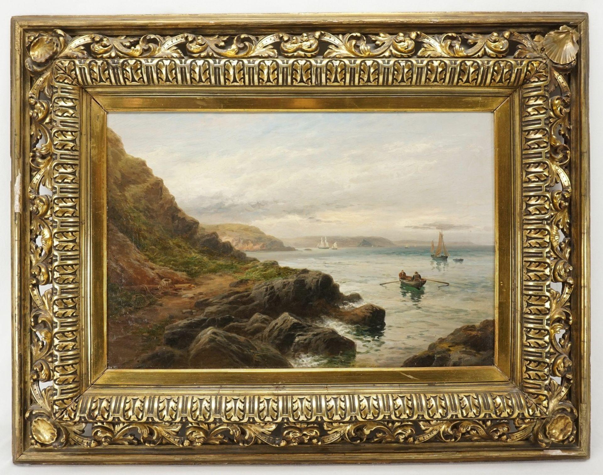 Unbekannter Landschaftsmaler, Felsige Küste mit Fischerbooten