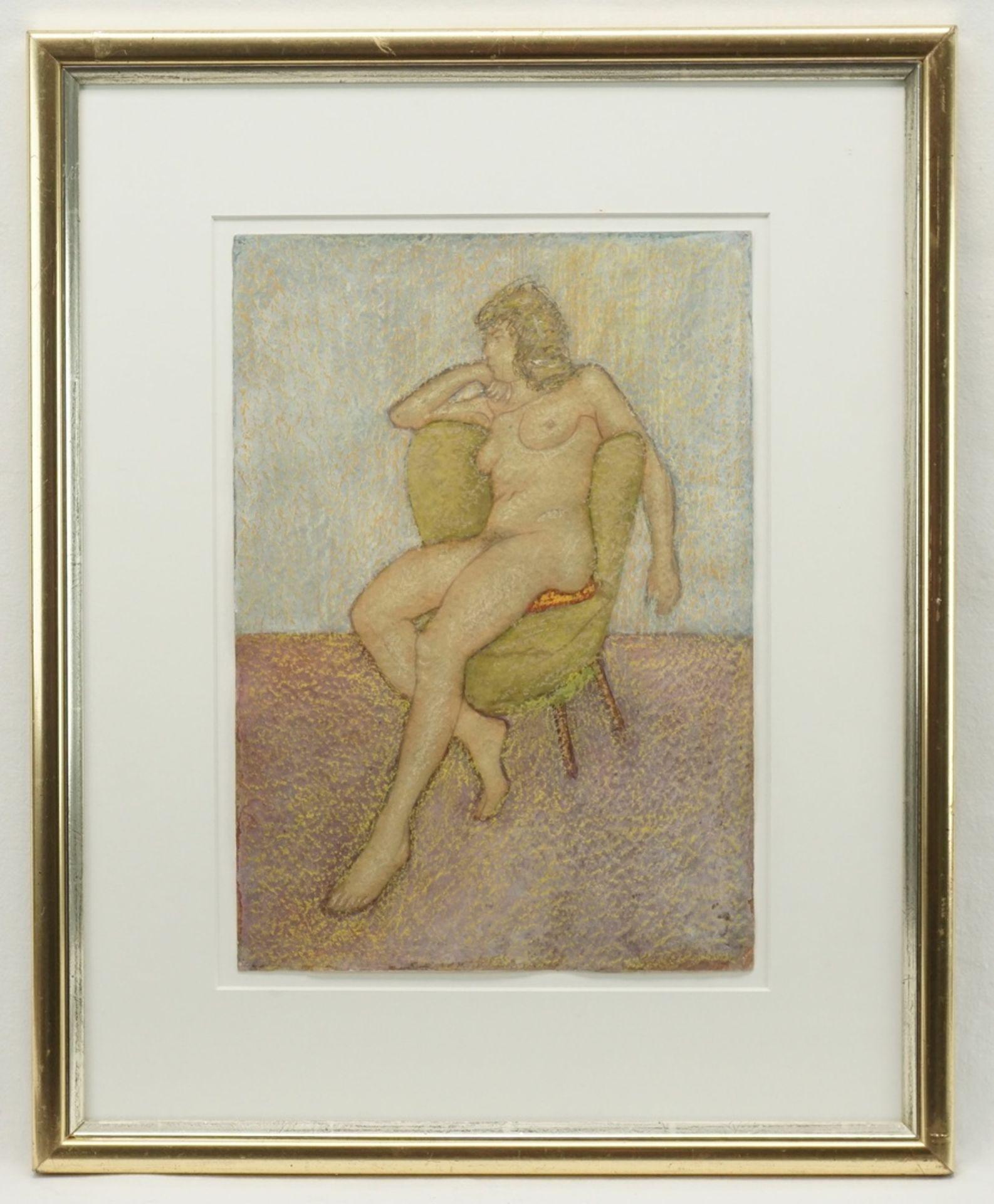 Franz Werneke, Sitzender weiblicher Akt auf grünem Sessel - Bild 2 aus 4