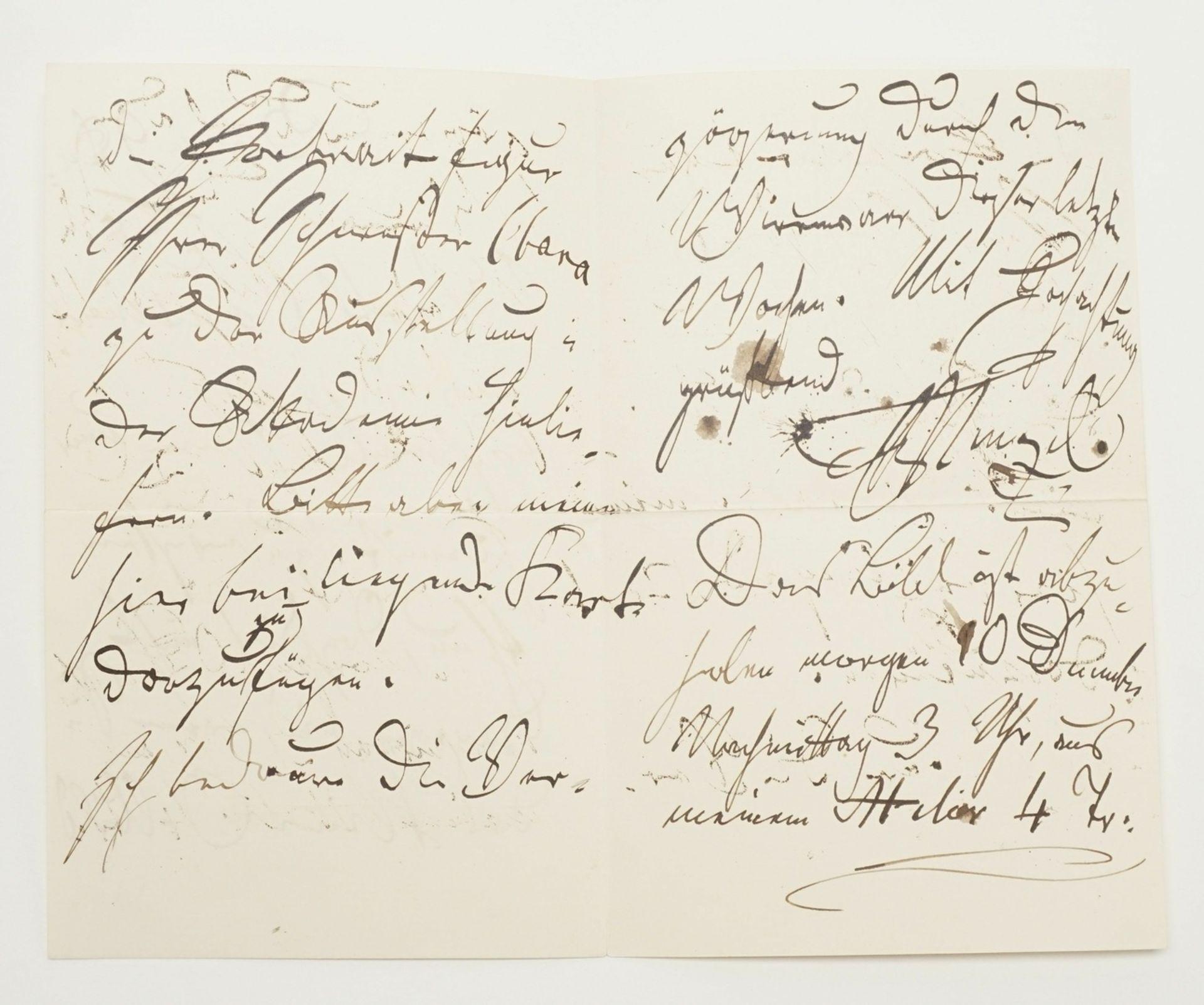 Adolf von Menzel, Autograph (handschriftlicher Brief inkl. Kuvert) - Bild 4 aus 4