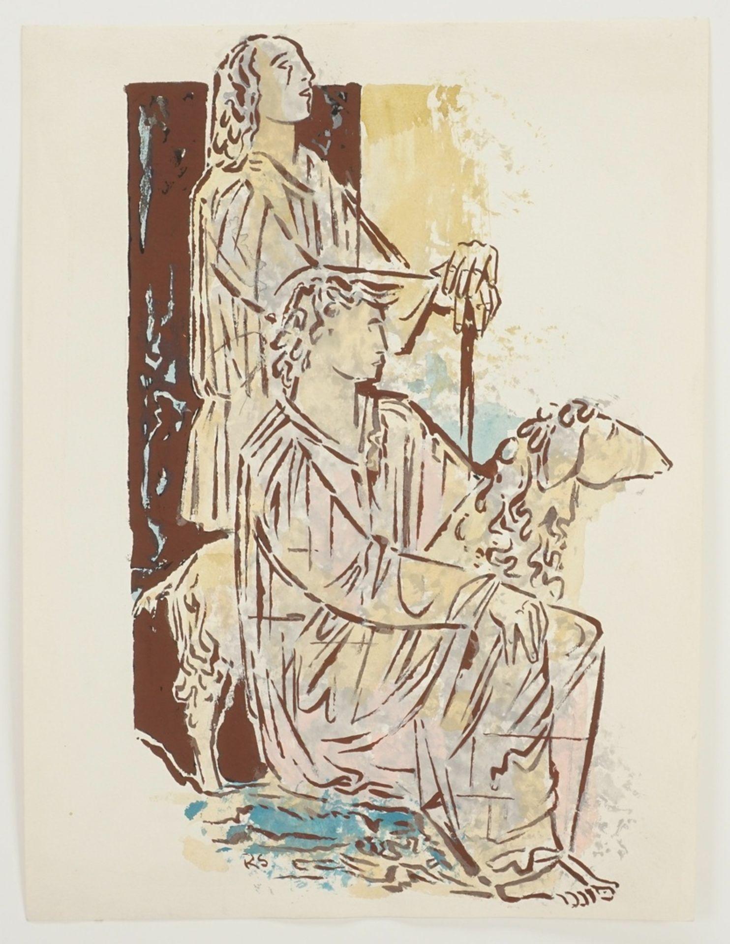 Richard Schwarzkopf, Zwei Hirten mit Schaf - Bild 3 aus 5