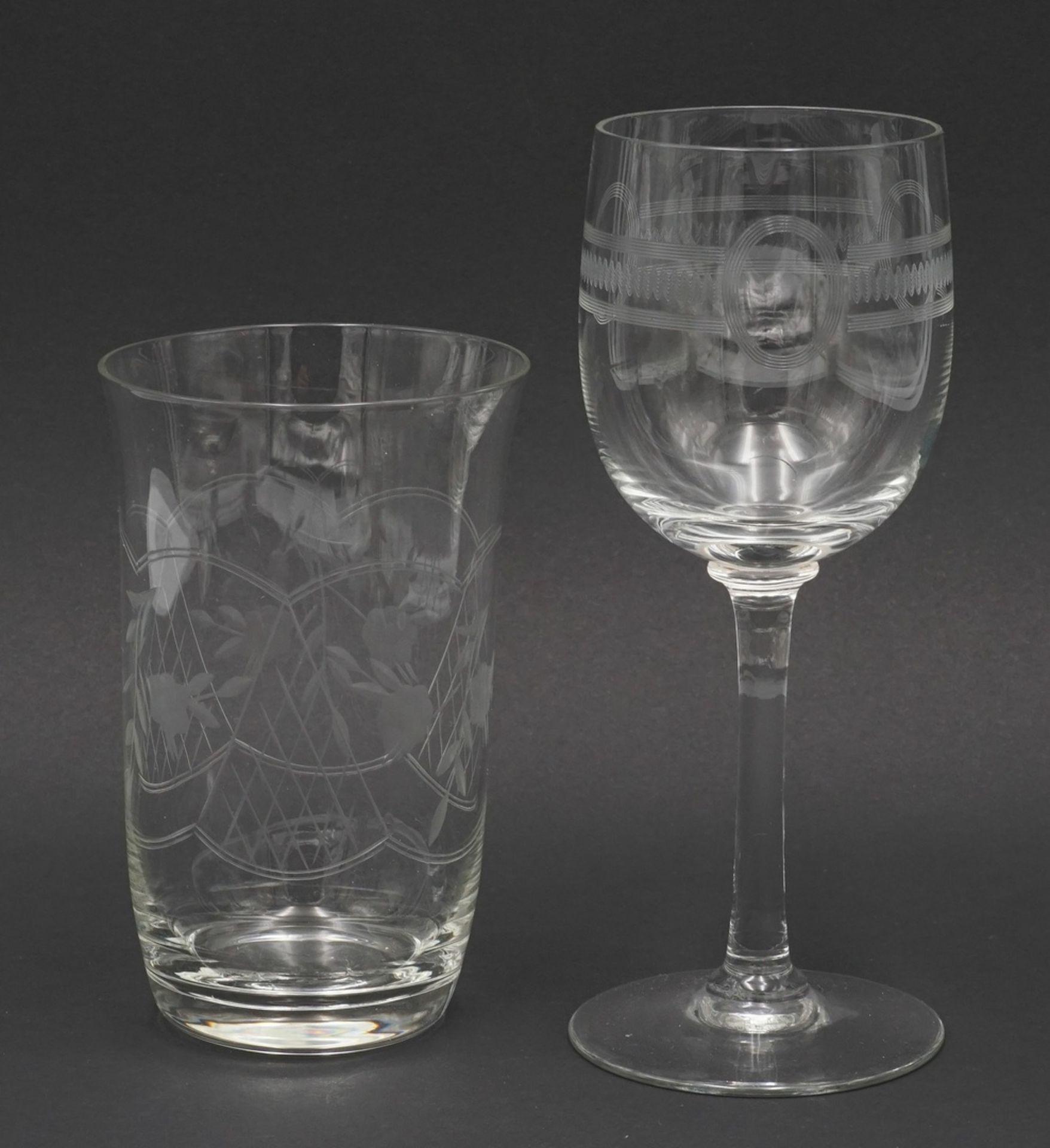 Sechs Wassergläser und fünf Weingläser - Bild 2 aus 3