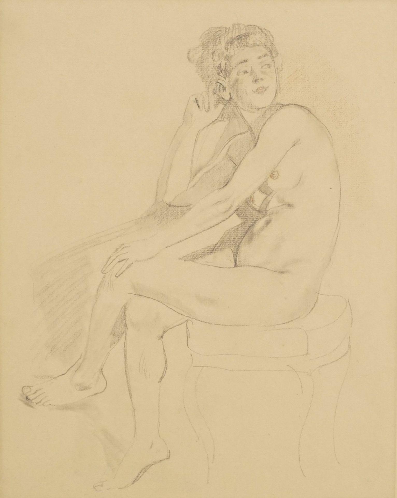 Alexander Frenz, Sitzender weiblicher Akt, die Beine übereinander geschlagen