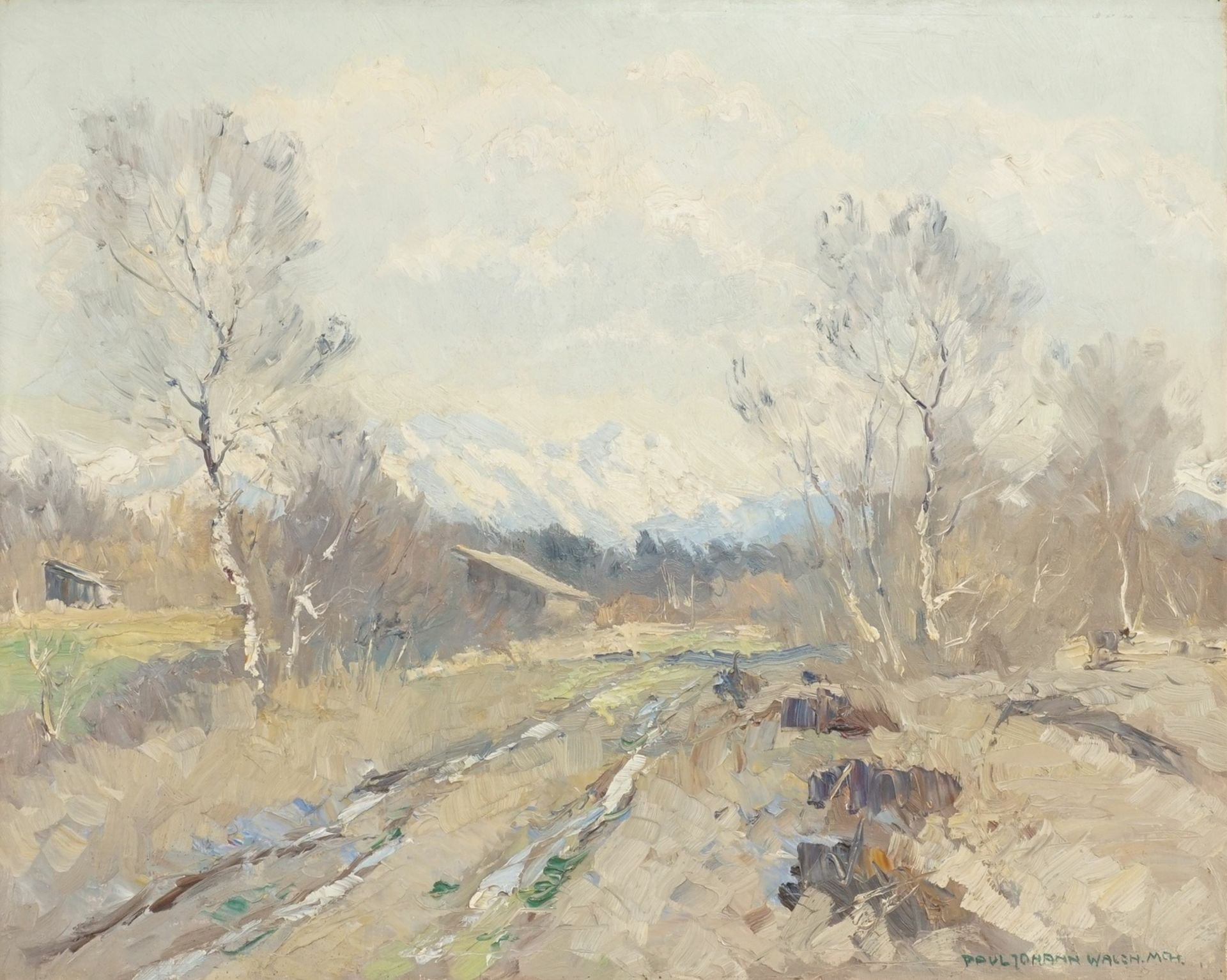 "Paul Johann Walch, ""Birken in Voralpenlandschaft"""