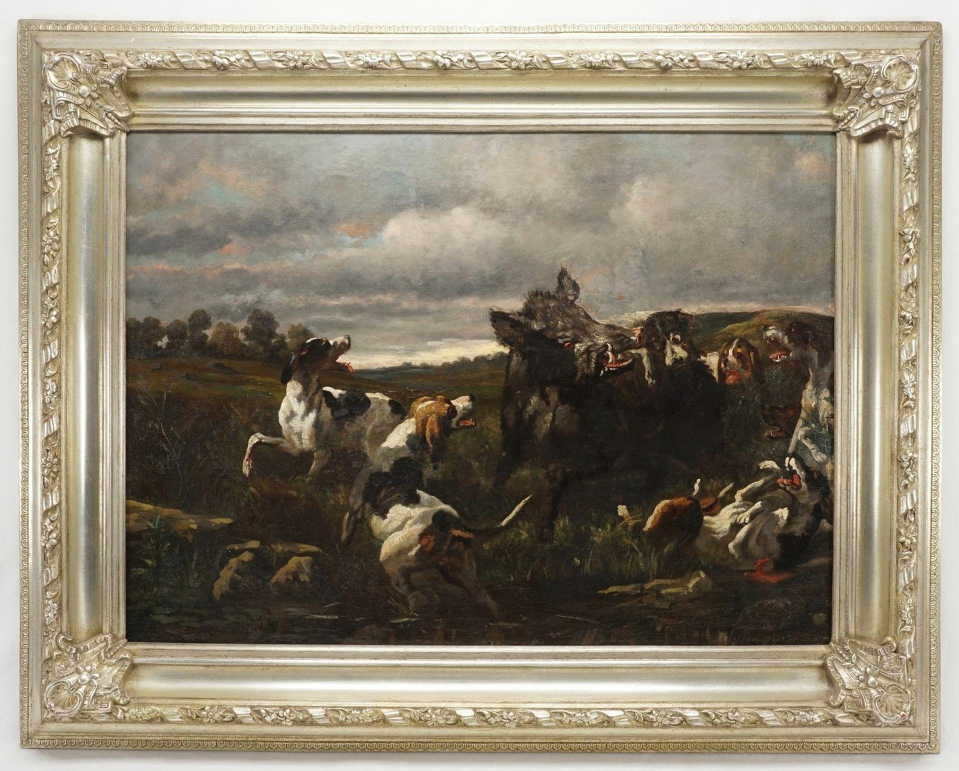 """Jagdmaler, """"Wildschweinhatz mit Bluthunden"""" - Bild 2 aus 3"""