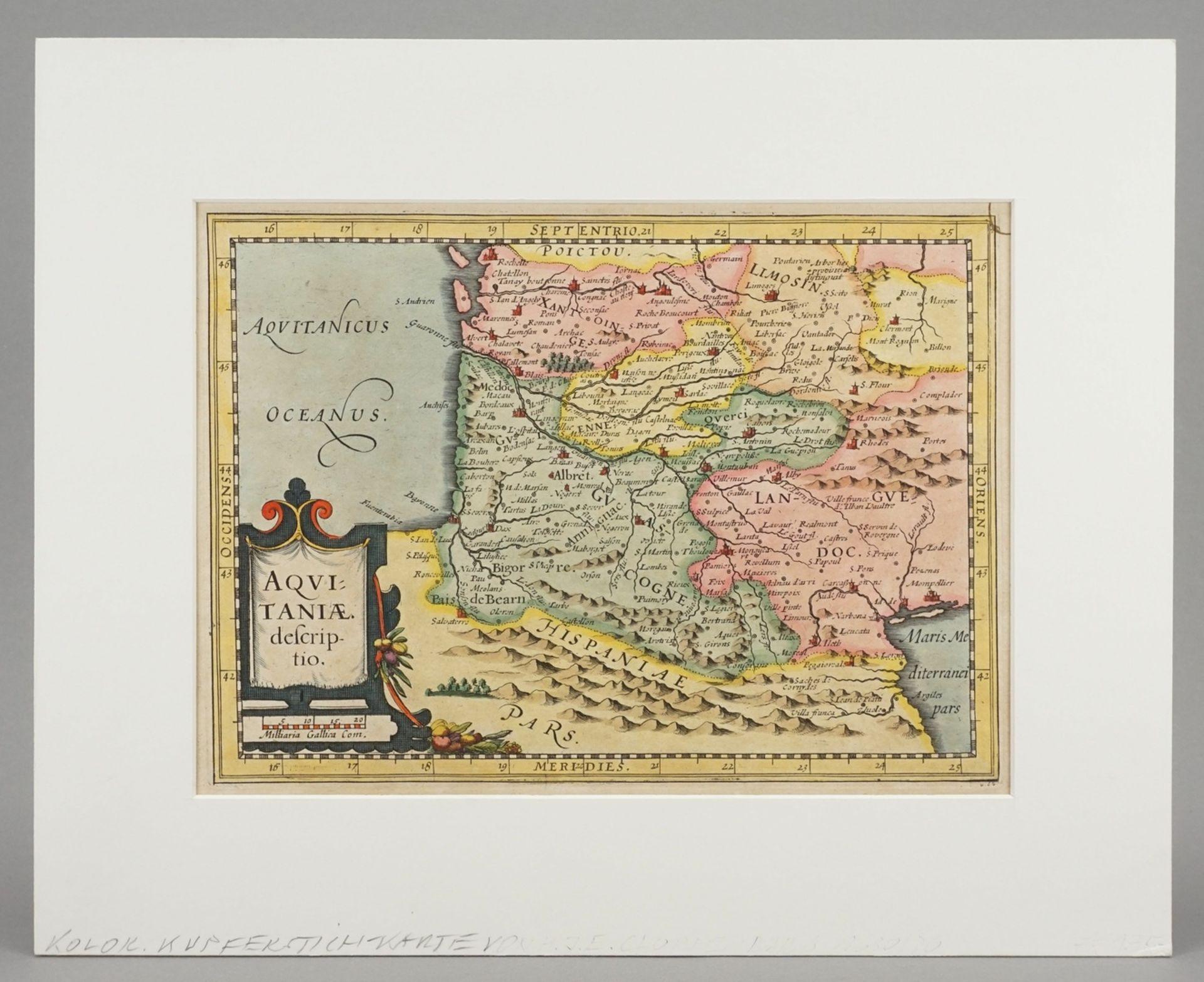 "Gerhard Mercator, ""Aquitaniae descriptio"" (Landkarte von Aquitanien, Südfrankreich) - Bild 2 aus 3"