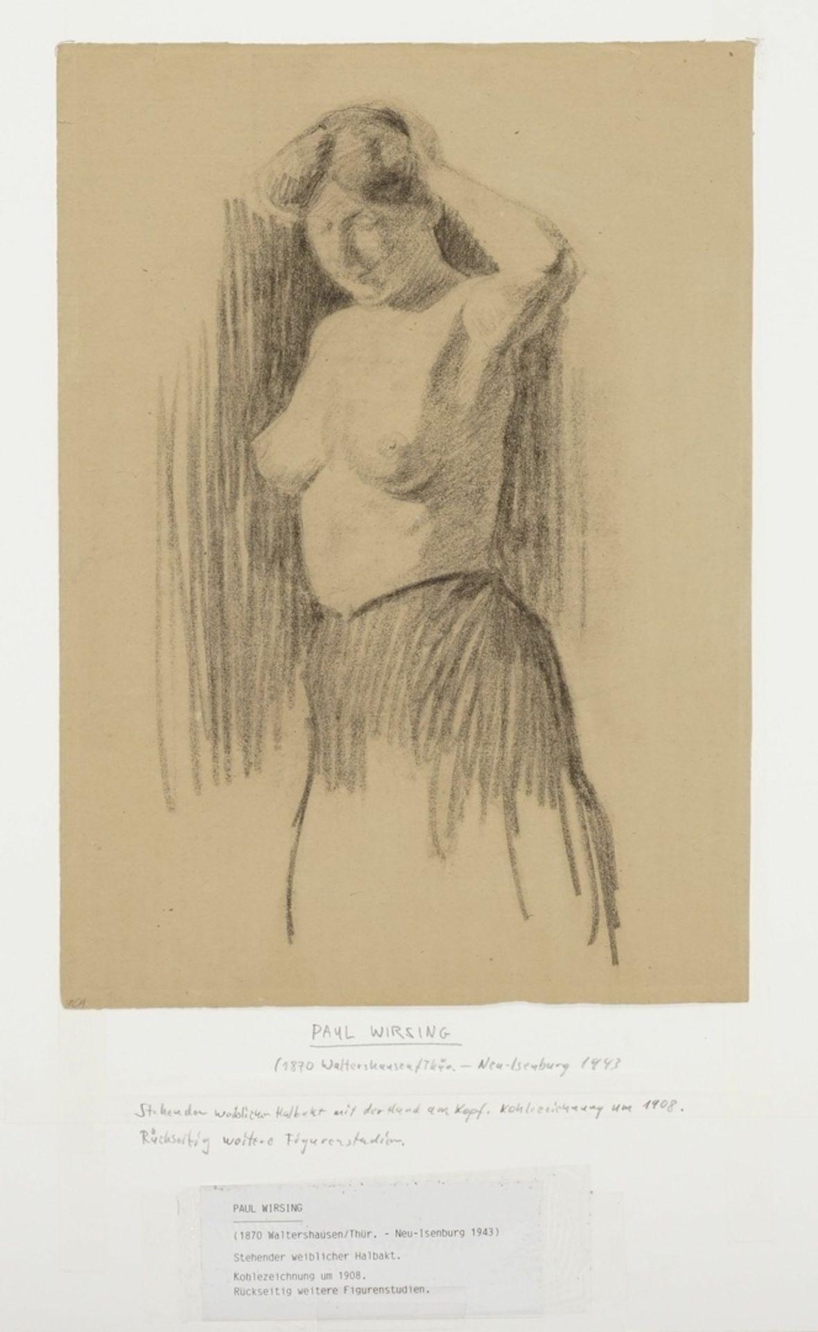 Paul Wirsing, Stehender weiblicher Halbakt, die linke Hand am Haar - Bild 3 aus 4